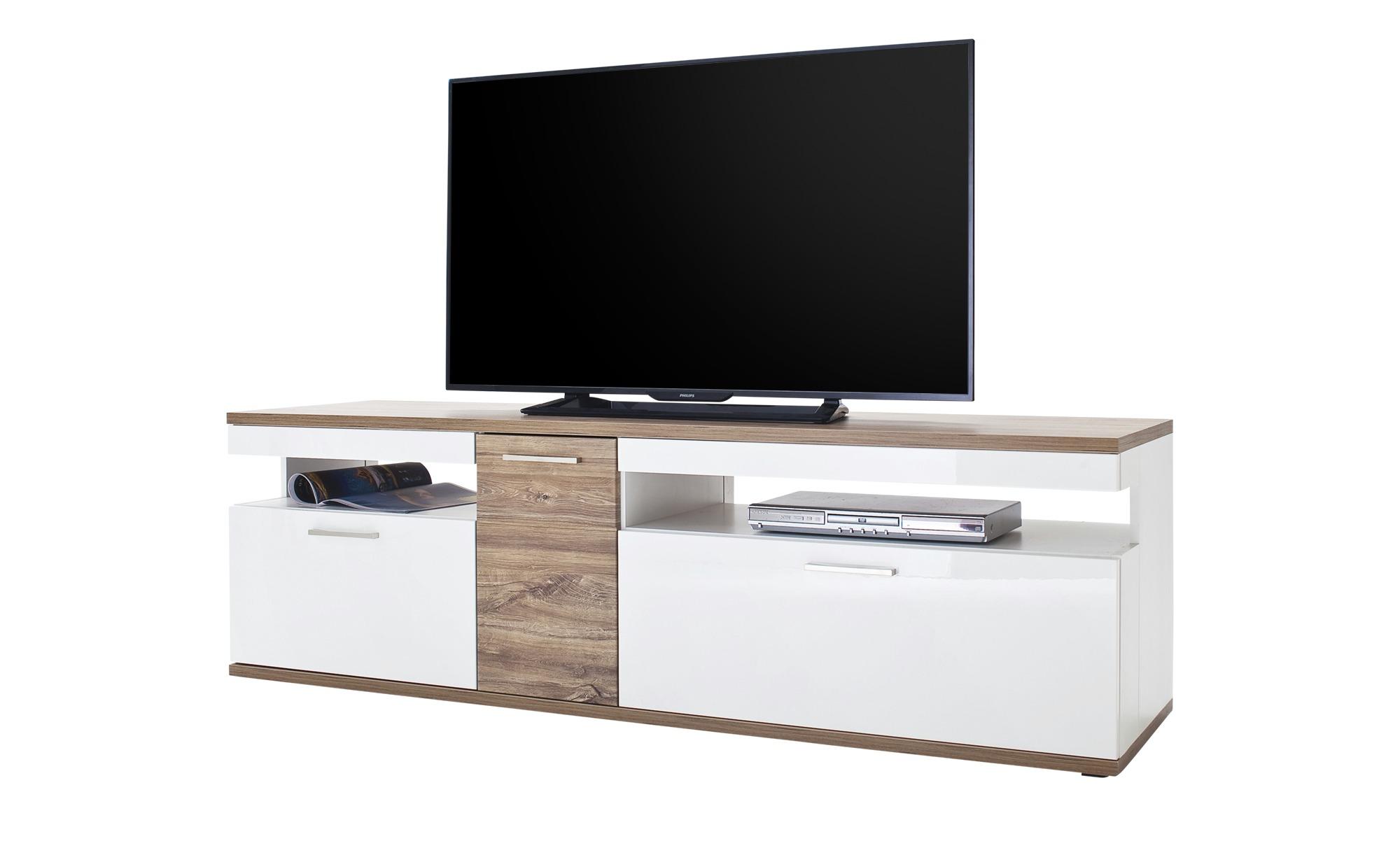 TV-Lowboard  Zypern ¦ weiß ¦ Maße (cm): B: 180 H: 55 T: 50 TV- & Media Möbel > TV-Racks - Höffner | Wohnzimmer > TV-HiFi-Möbel | Weiß | Holzwerkstoff - Holz - Nachbildung | Möbel Höffner DE