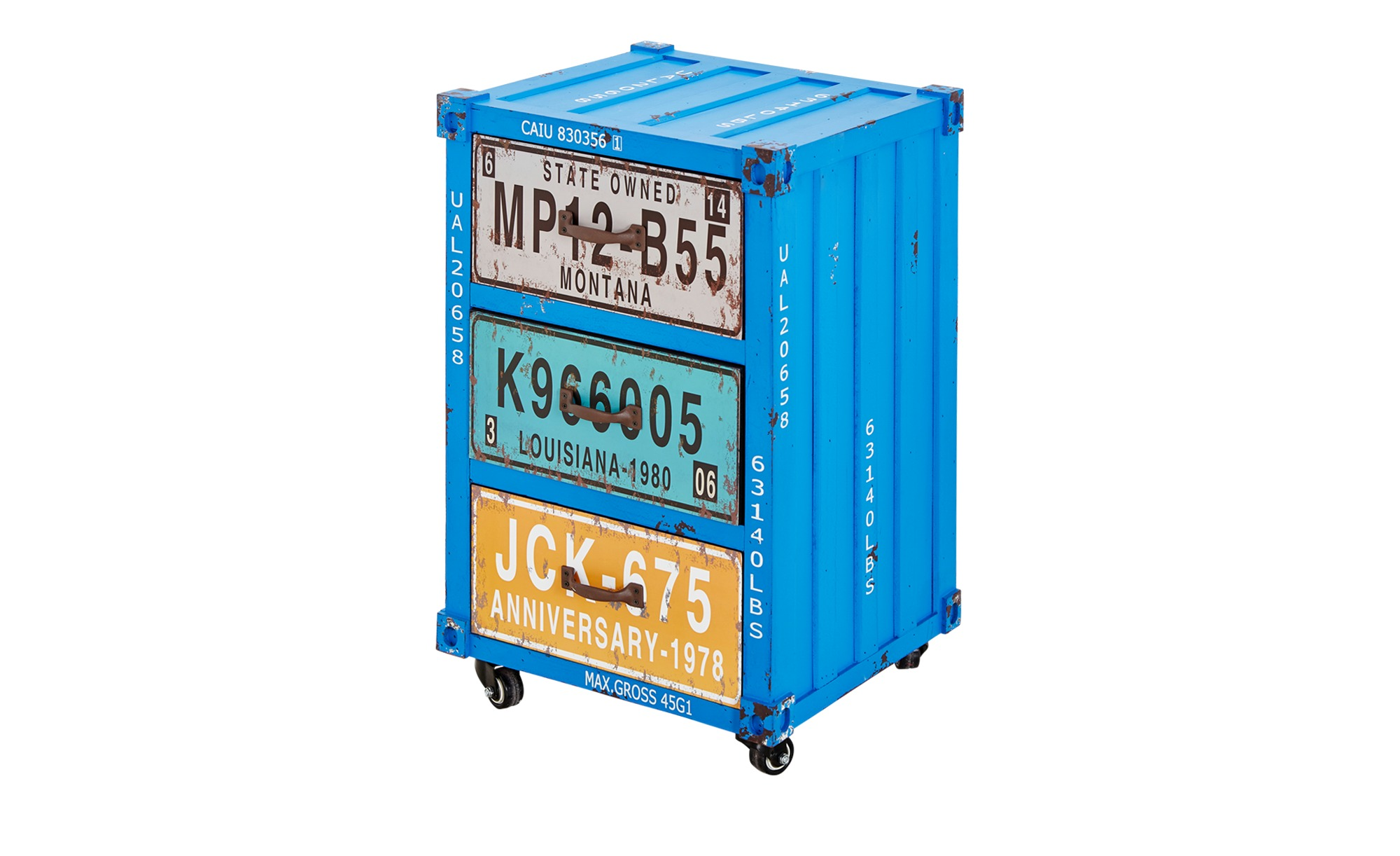 Kommode im Containerdesign  Alassio ¦ blau ¦ Maße (cm): B: 38,5 H: 65 T: 34 Kommoden & Sideboards > Kommoden - Höffner
