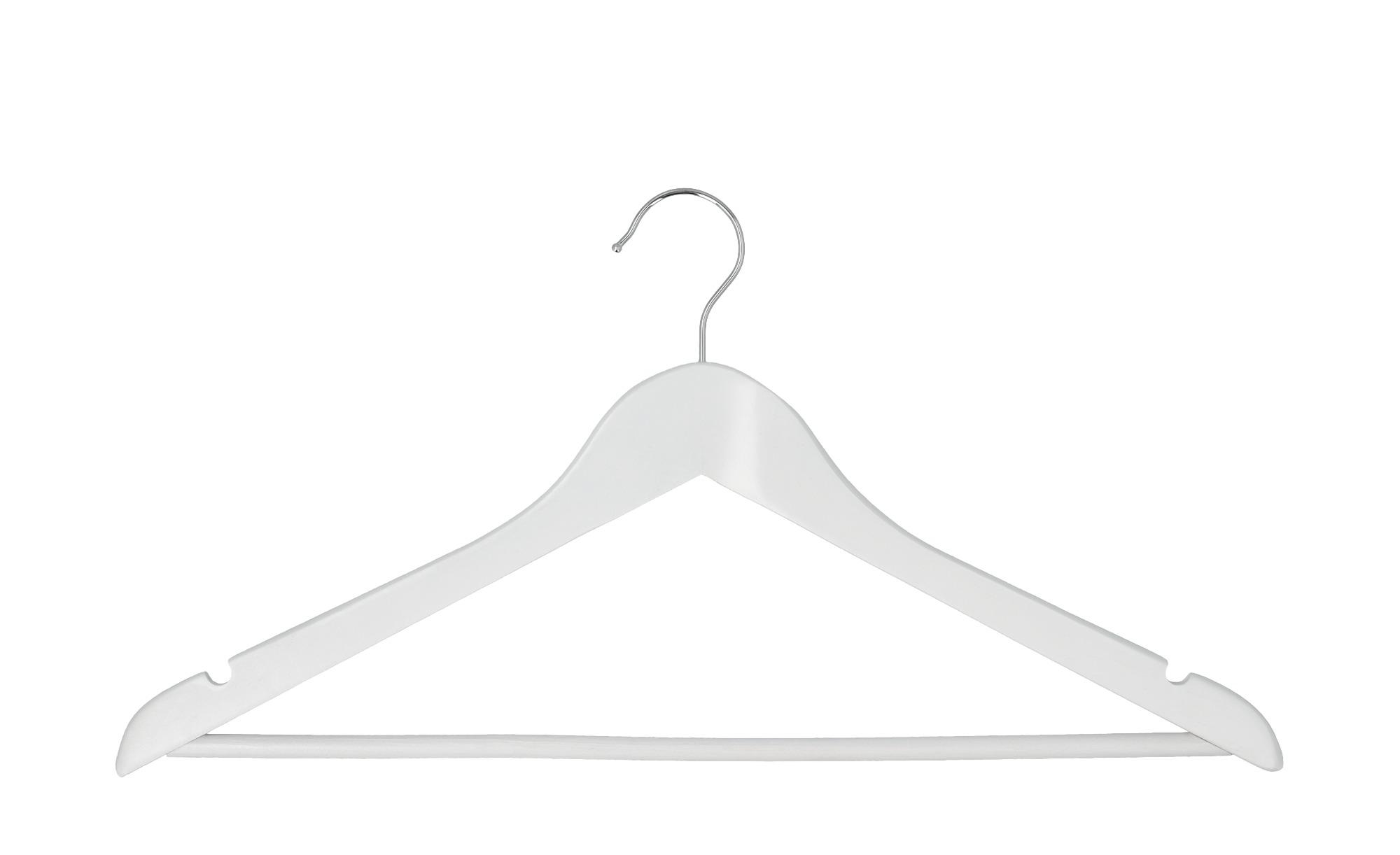 levelone Kleiderbügel, 5er-Set ¦ weiß ¦ Holz, Metall Aufbewahrung > Kleiderbügel - Höffner