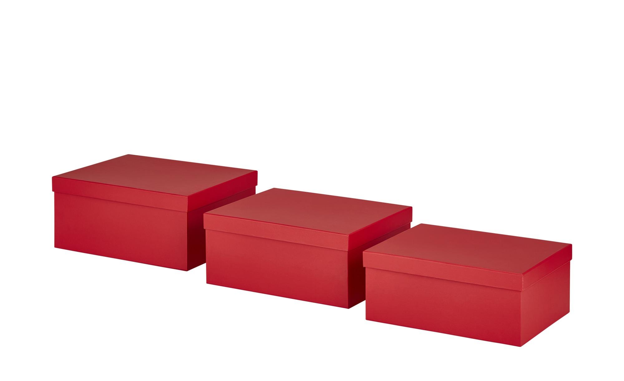 Aufbewahrungsboxen, 3er-Set ¦ rot ¦ Papier, Pappe ¦ Maße (cm): B: 30 H: 27,5 Regale > Regal-Aufbewahrungsboxen - Höffner