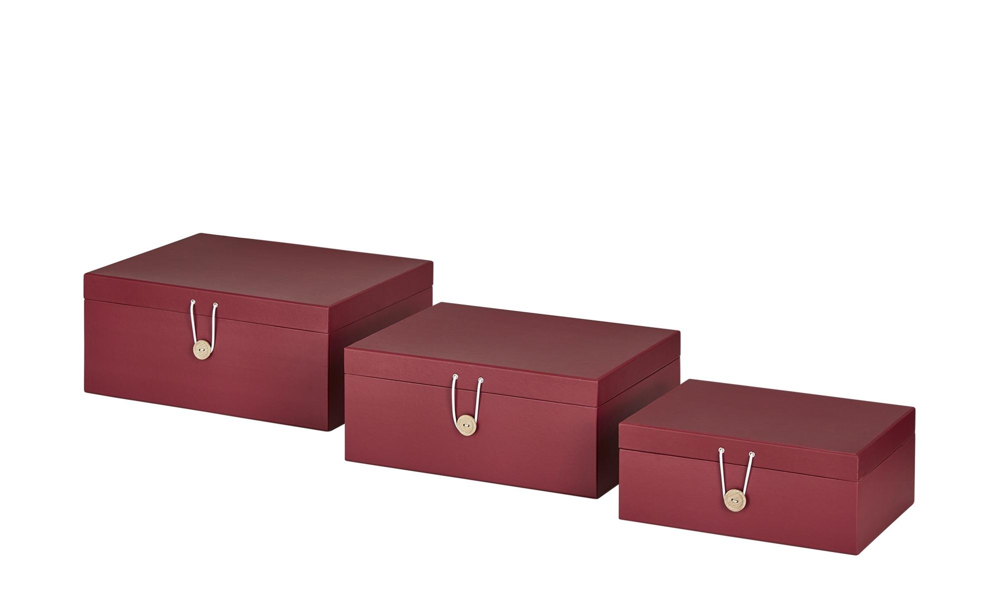 Aufbewahrungsboxen, 3er-Set ¦ rot ¦ Papier ¦ Maße (cm): B: 33,2 H: 14,8 T: 25,2 Regale > Regal-Aufbewahrungsboxen - Höffner