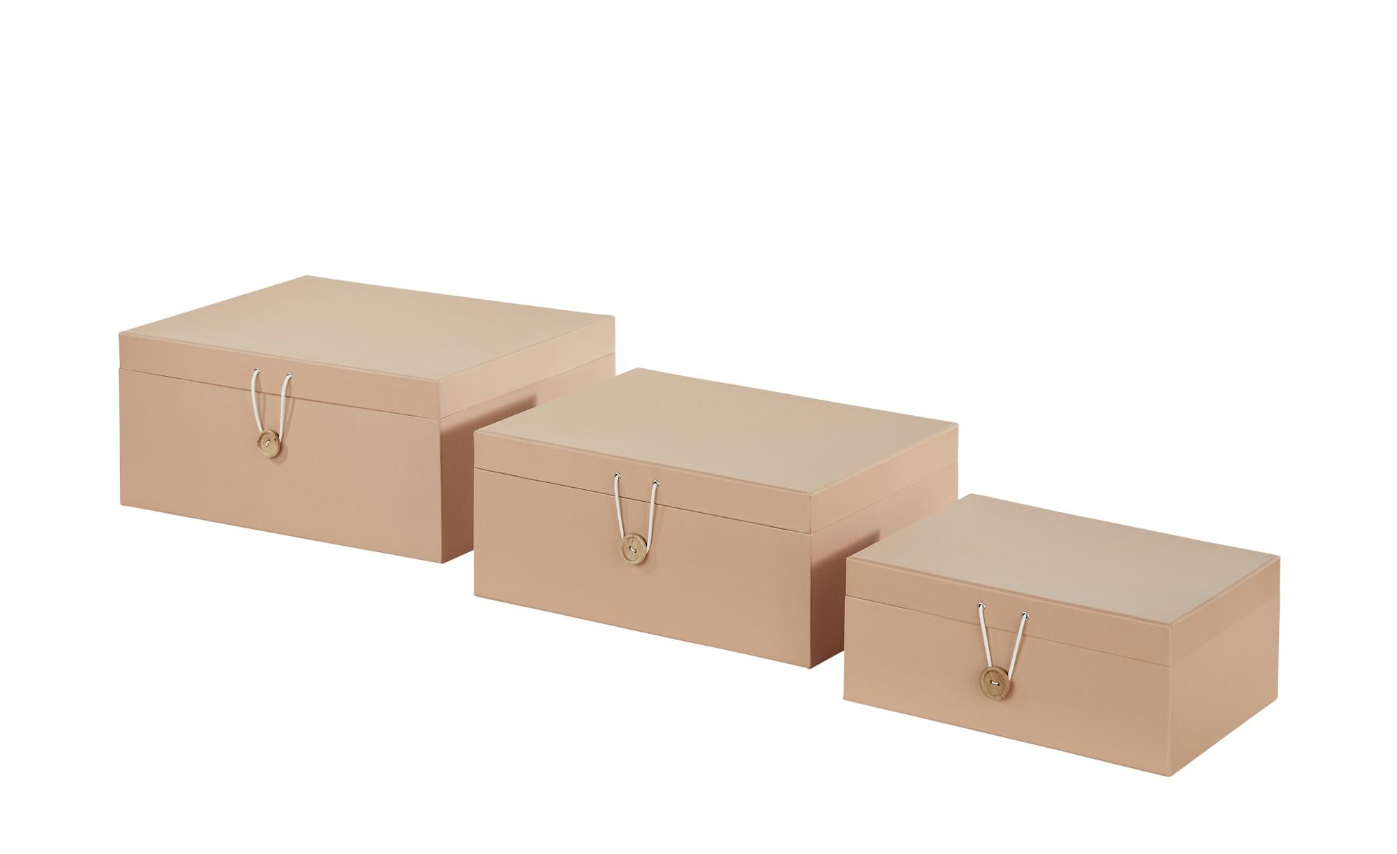 Aufbewahrungsboxen, 3er-Set ¦ beige ¦ Papier ¦ Maße (cm): B: 33,2 H: 14,8 T: 25,2 Regale > Regal-Aufbewahrungsboxen - Höffner