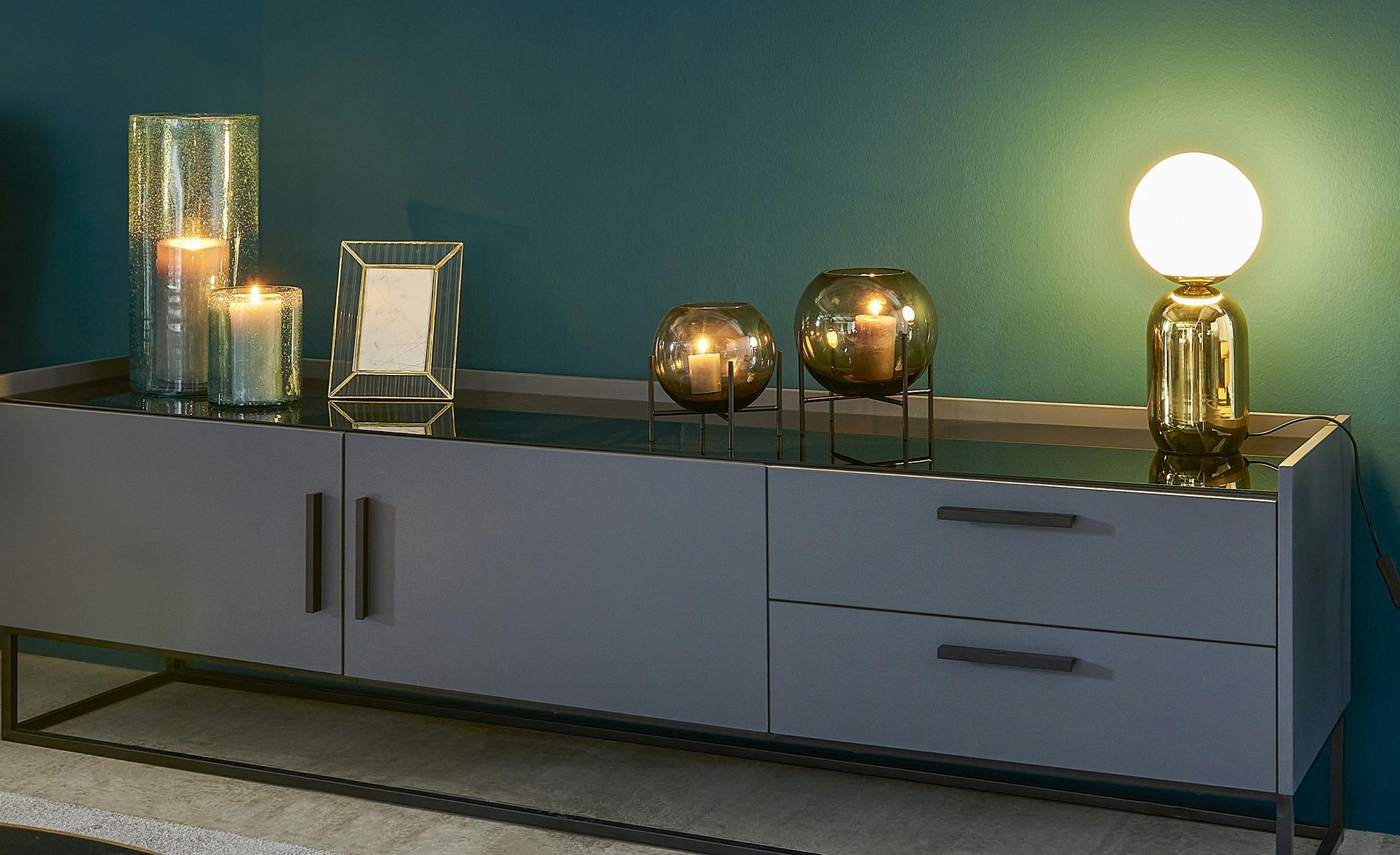 #Windlicht ¦ blau ¦ Glas  ¦ Maße (cm): H: 39 Ø: 18 Dekoration > Laternen & Windlichter – Höffner#