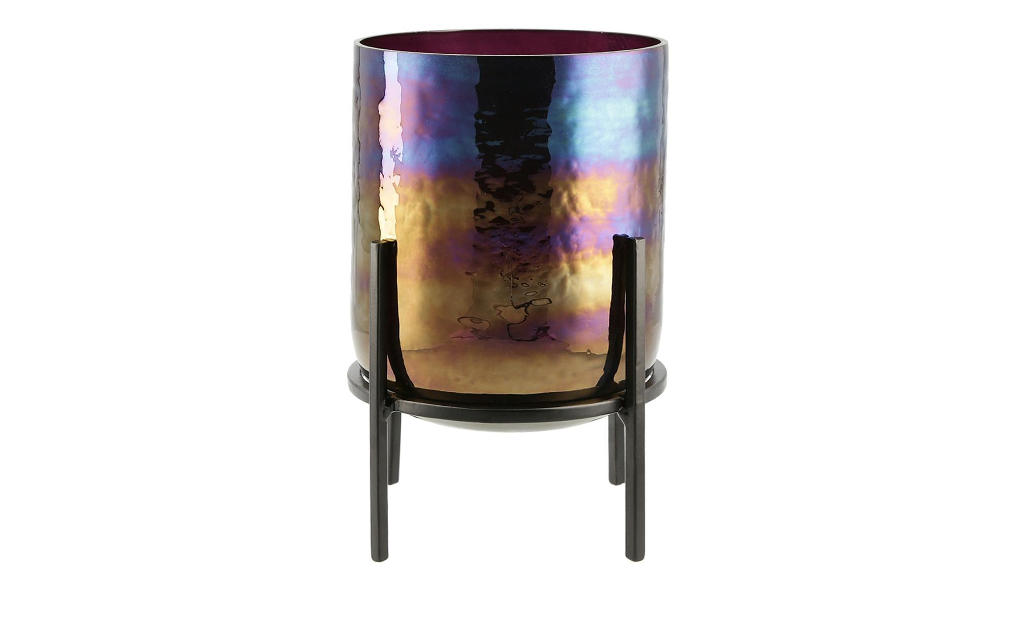 Windlicht ¦ lila/violett ¦ Metall, Glas  ¦ Maße (cm): H: 21 Ø: [13.5] Dekoration > Laternen & Windlichter - Höffner | Dekoration > Kerzen und Kerzenständer > Windlichter | Möbel Höffner DE