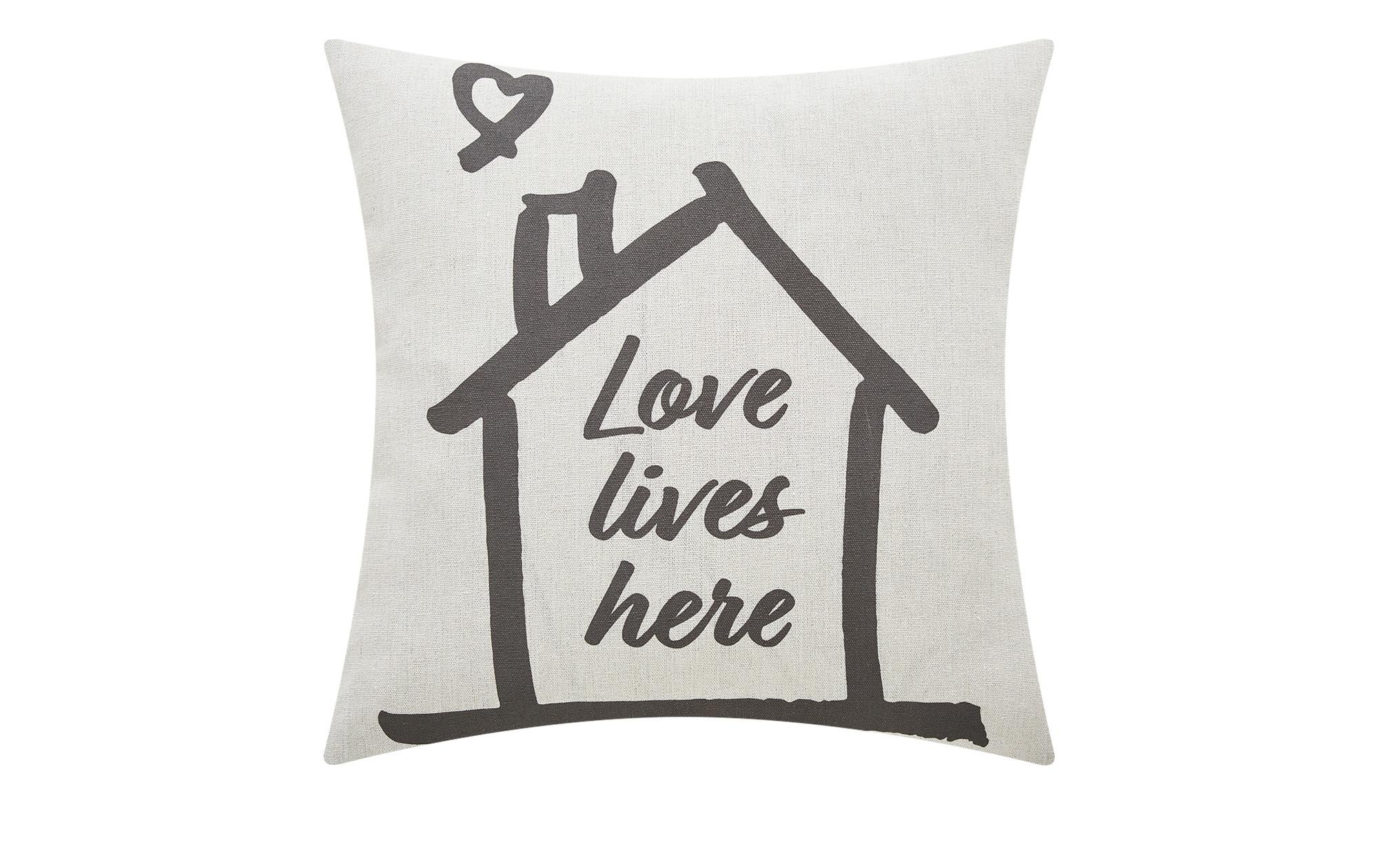 HOME STORY Kissen  Love ¦ creme ¦ 100% Polyesterfüllung ¦ Maße (cm): B: 45 Heimtextilien > Kissen > Dekokissen - Höffner