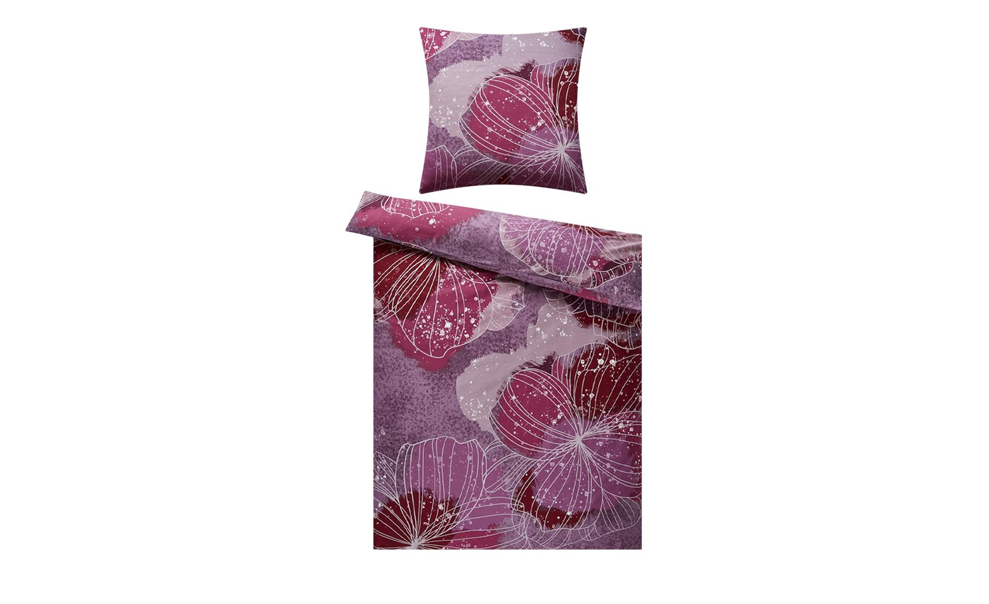 HOME STORY Satin Bettwäsche  Blumen ¦ rosa/pink ¦ 100% Baumwolle ¦ Maße (cm): B: 135 Bettwaren > Bettwäsche-Sets > weitere Bettwäschesets - Höffner