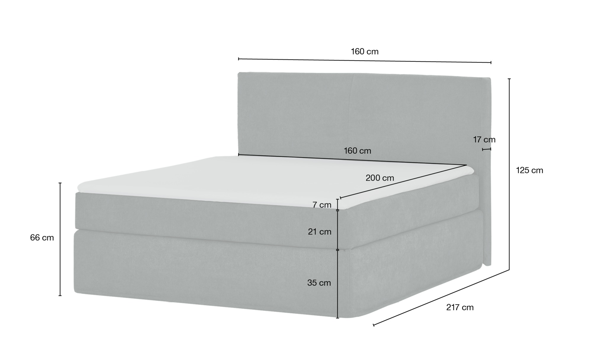 Boxspringbett 160 x 200 cm  Boxi ¦ blau ¦ Maße (cm): B: 160 H: 125 Betten > Boxspringbetten > Boxspringbetten 160x200 - Höffner