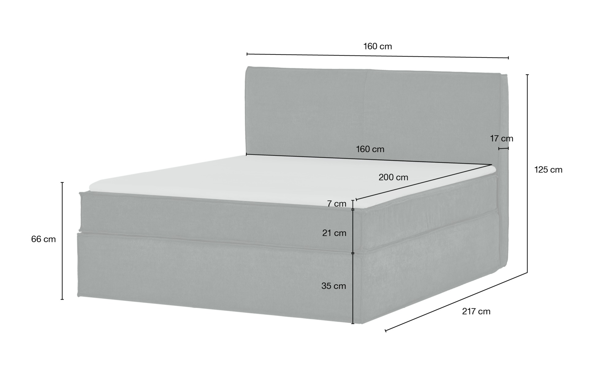 Boxspringbett 160 x 200 cm  Boxi ¦ grün ¦ Maße (cm): B: 160 H: 125 Betten > Boxspringbetten > Boxspringbetten 160x200 - Höffner