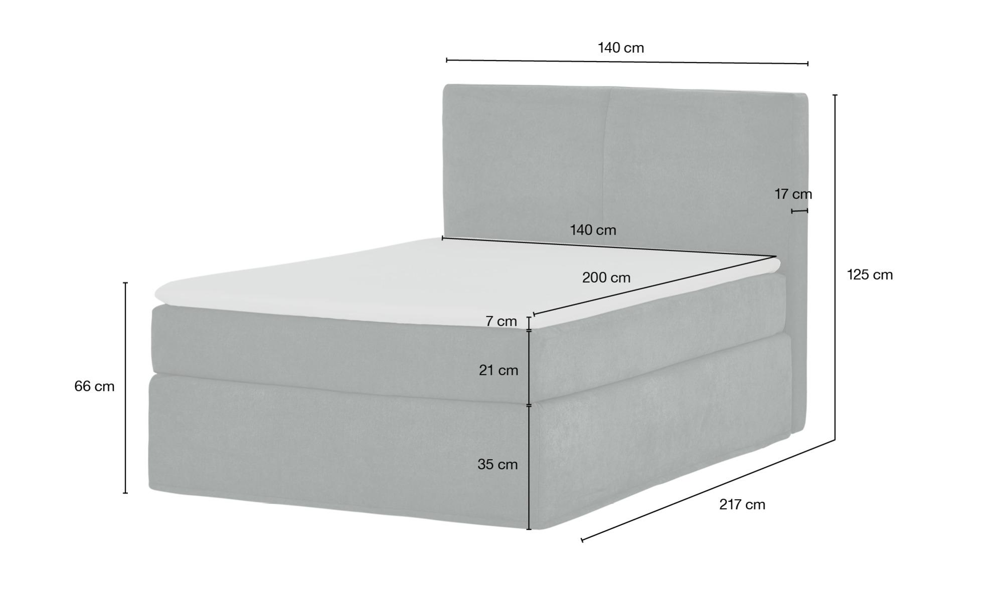 Boxspringbett 140 x 200 cm  Boxi ¦ grau ¦ Maße (cm): B: 140 H: 125 Betten > Boxspringbetten > Boxspringbetten 140x200 - Höffner