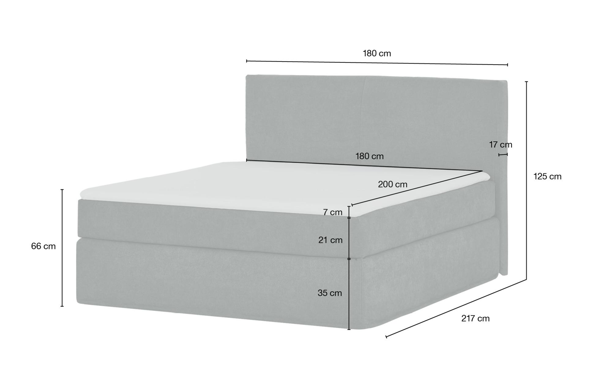 Boxspringbett 180 x 200 cm  Boxi ¦ grau ¦ Maße (cm): B: 180 H: 125 Betten > Boxspringbetten > Boxspringbetten 180x200 - Höffner