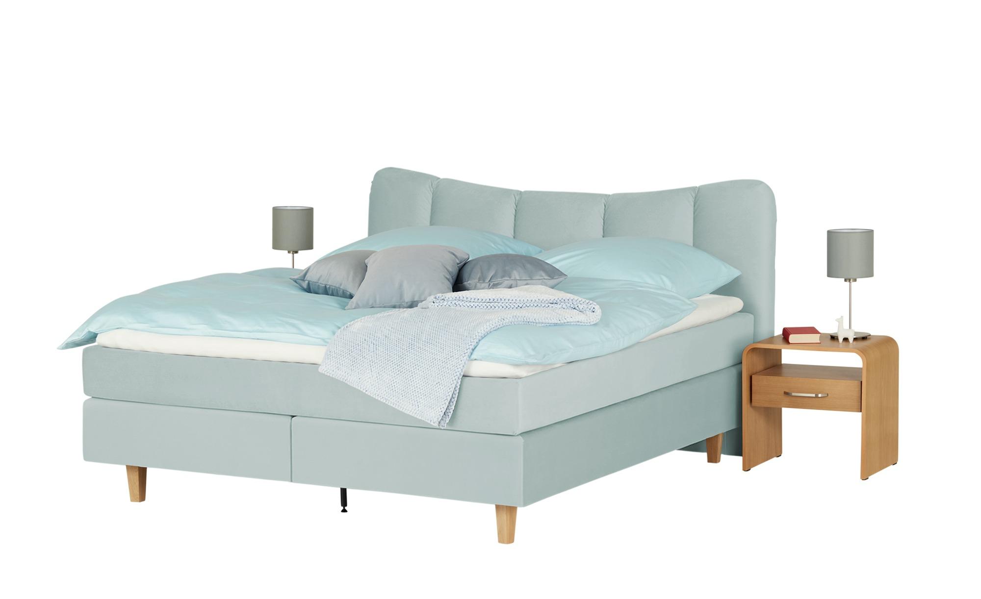 #Boxspringbett  Dalur 140 x 200 cm Eisblau – SKAGEN BEDS#