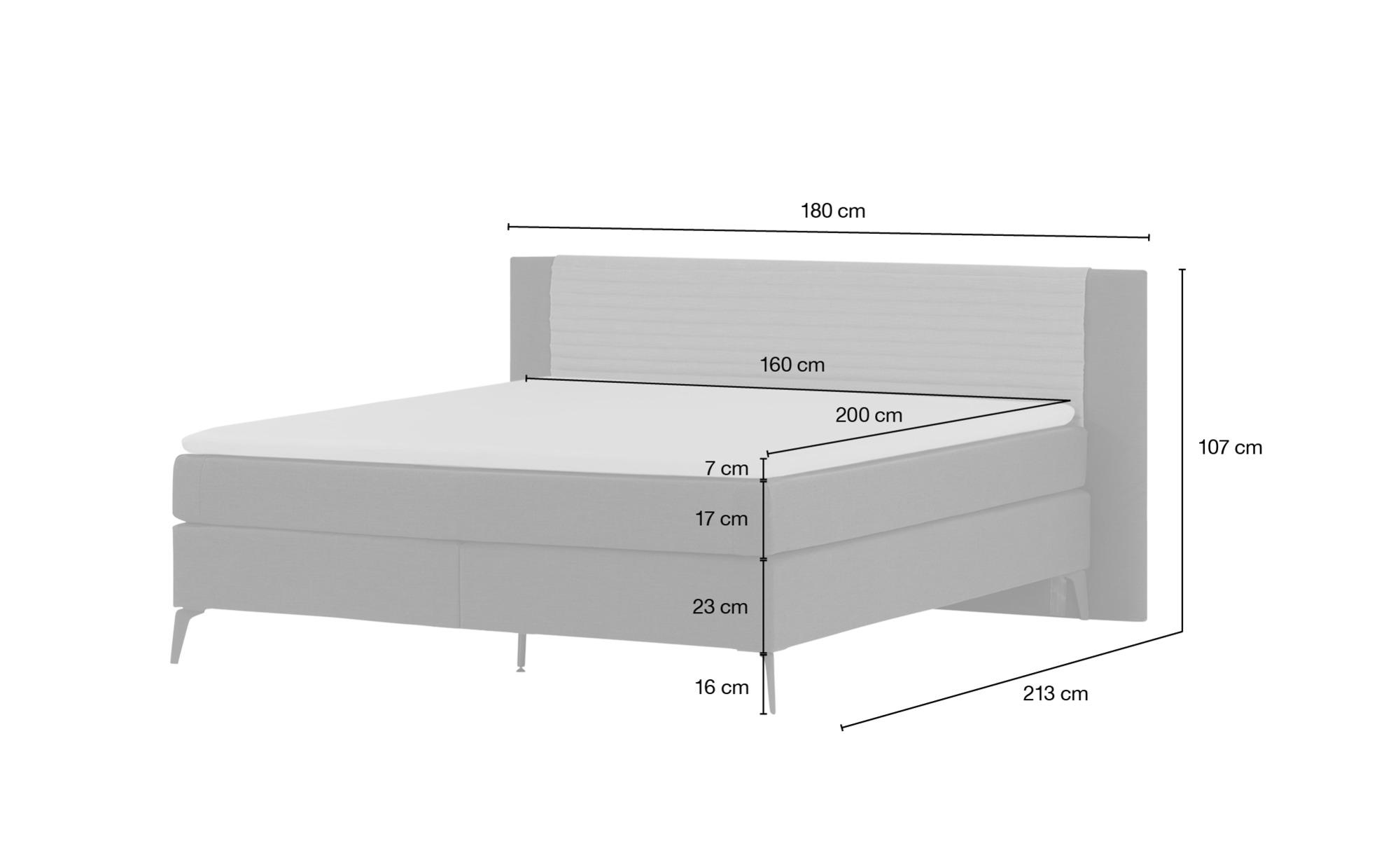 *Boxspringbett  Synda 160×200 cm Grau – SKAGEN BEDS*