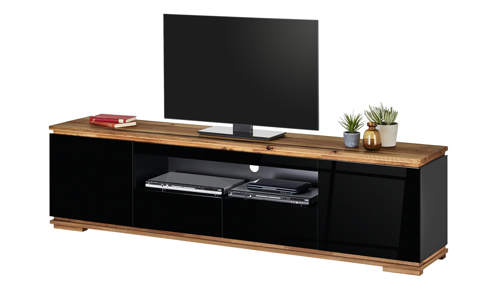 TV-Lowboard  Messina ¦ schwarz ¦ Maße (cm): B: 202 H: 54 T: 40 TV- & Media Möbel > TV-Racks - Höffner