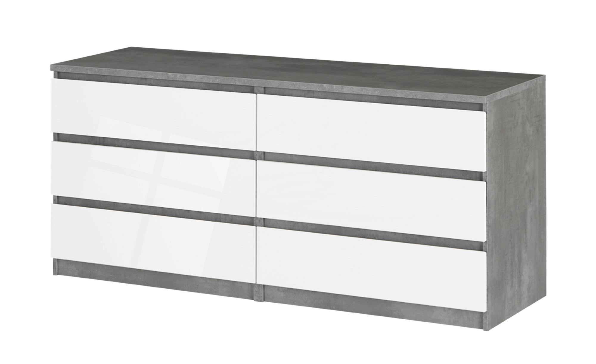 Sideboard mit 6 Schüben  Nardo ¦ grau ¦ Maße (cm): B: 153,8 H: 70,1 T: 50 Kommoden & Sideboards > Kommoden - Höffner