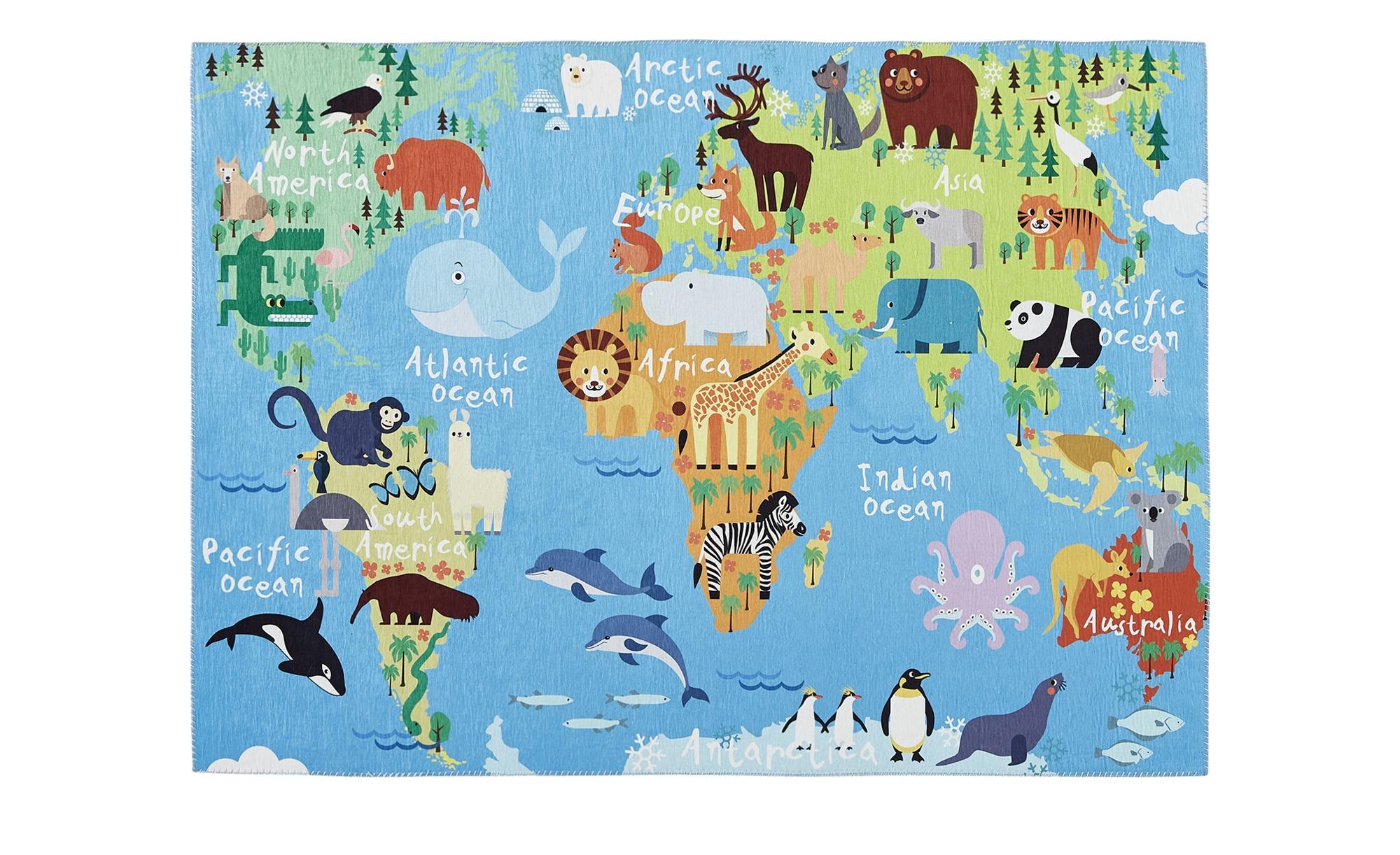 Spielteppich mit Weltkarte und Tieren