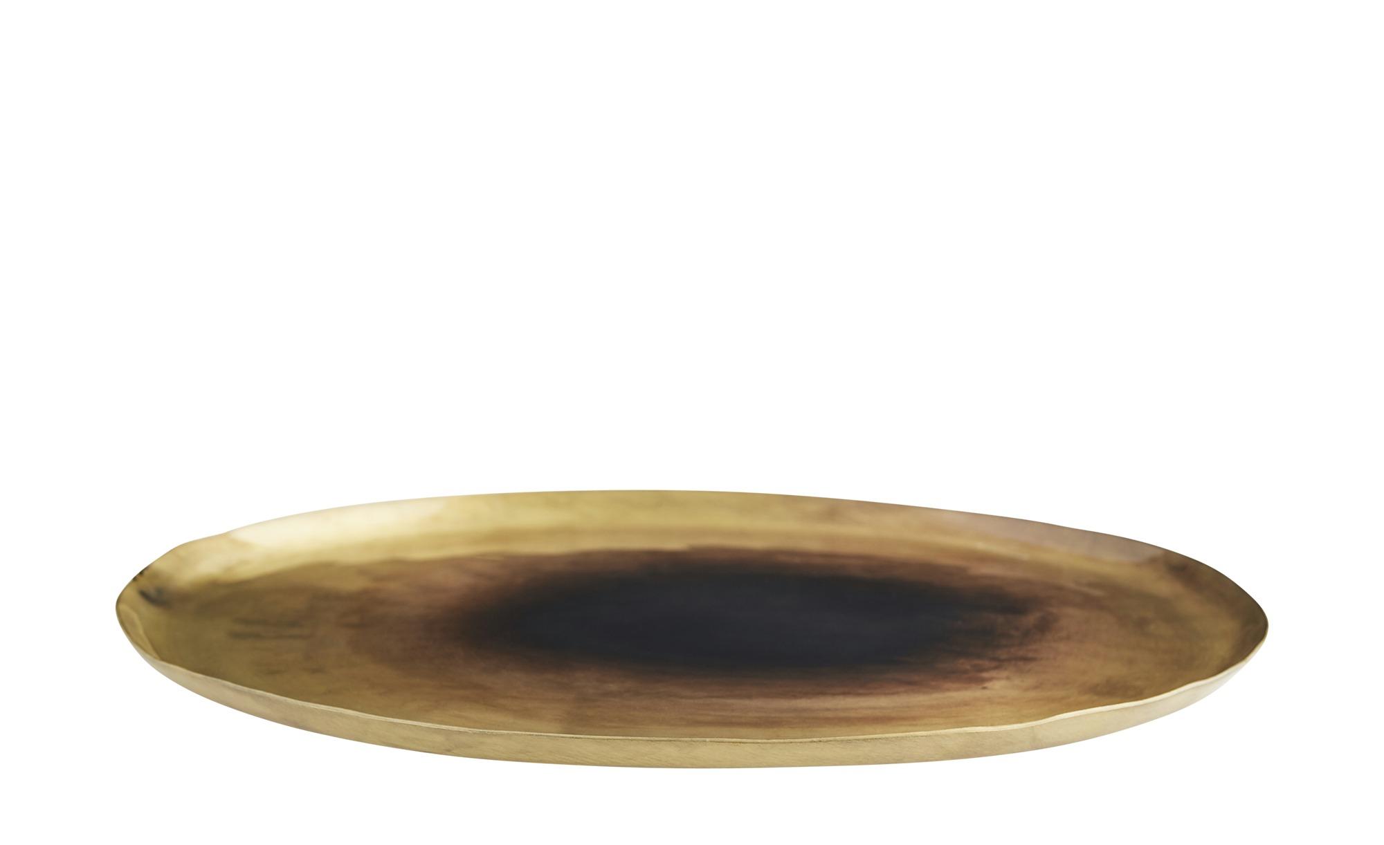 Schale Teller Rund Metall Tablett Antik Gold Bronze Deko Naturals Collections