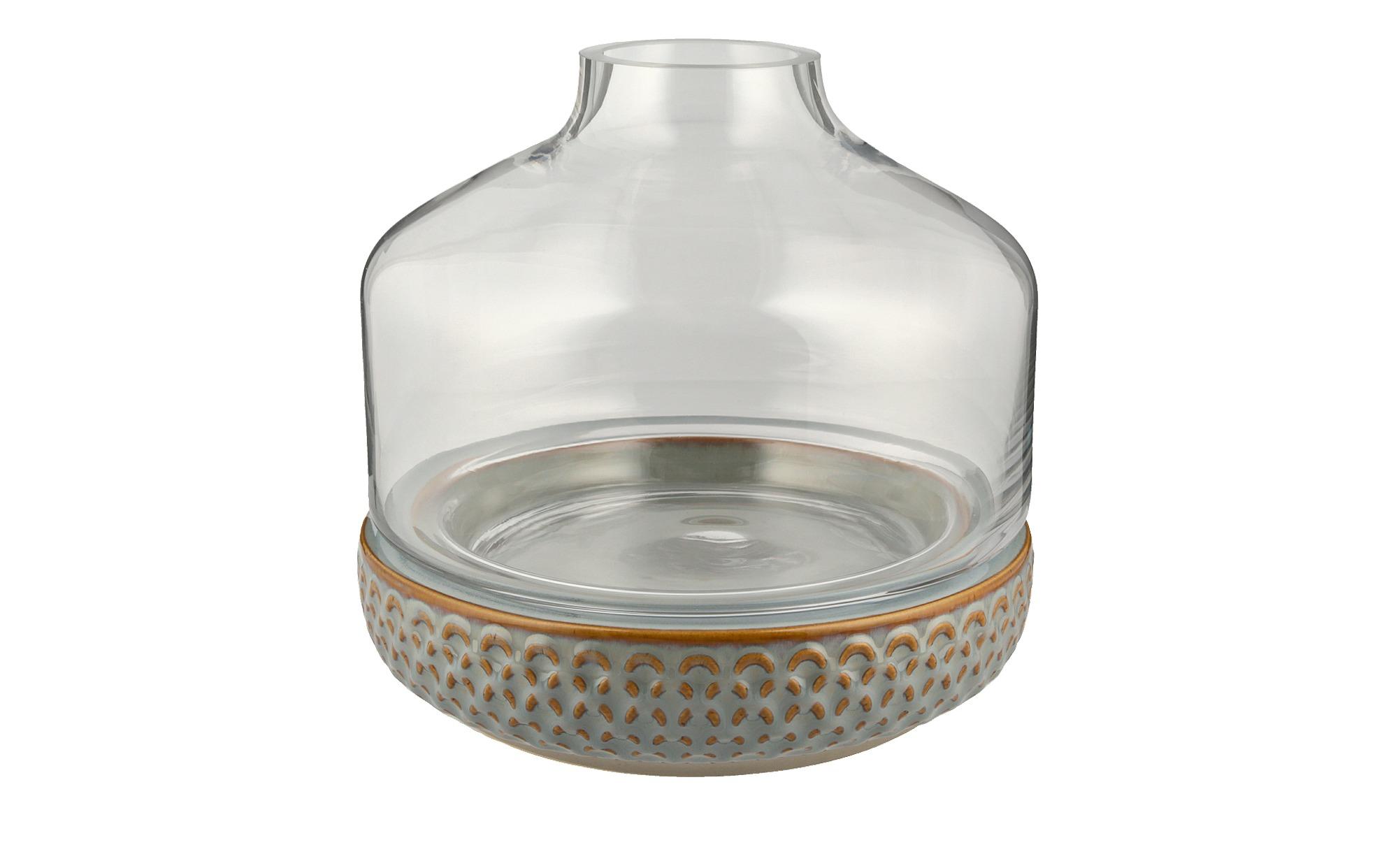 Vase mit Steinboden ¦ grau ¦ Steingut, Glas Ø: 22.5 Dekoration > Vasen - Hö günstig online kaufen