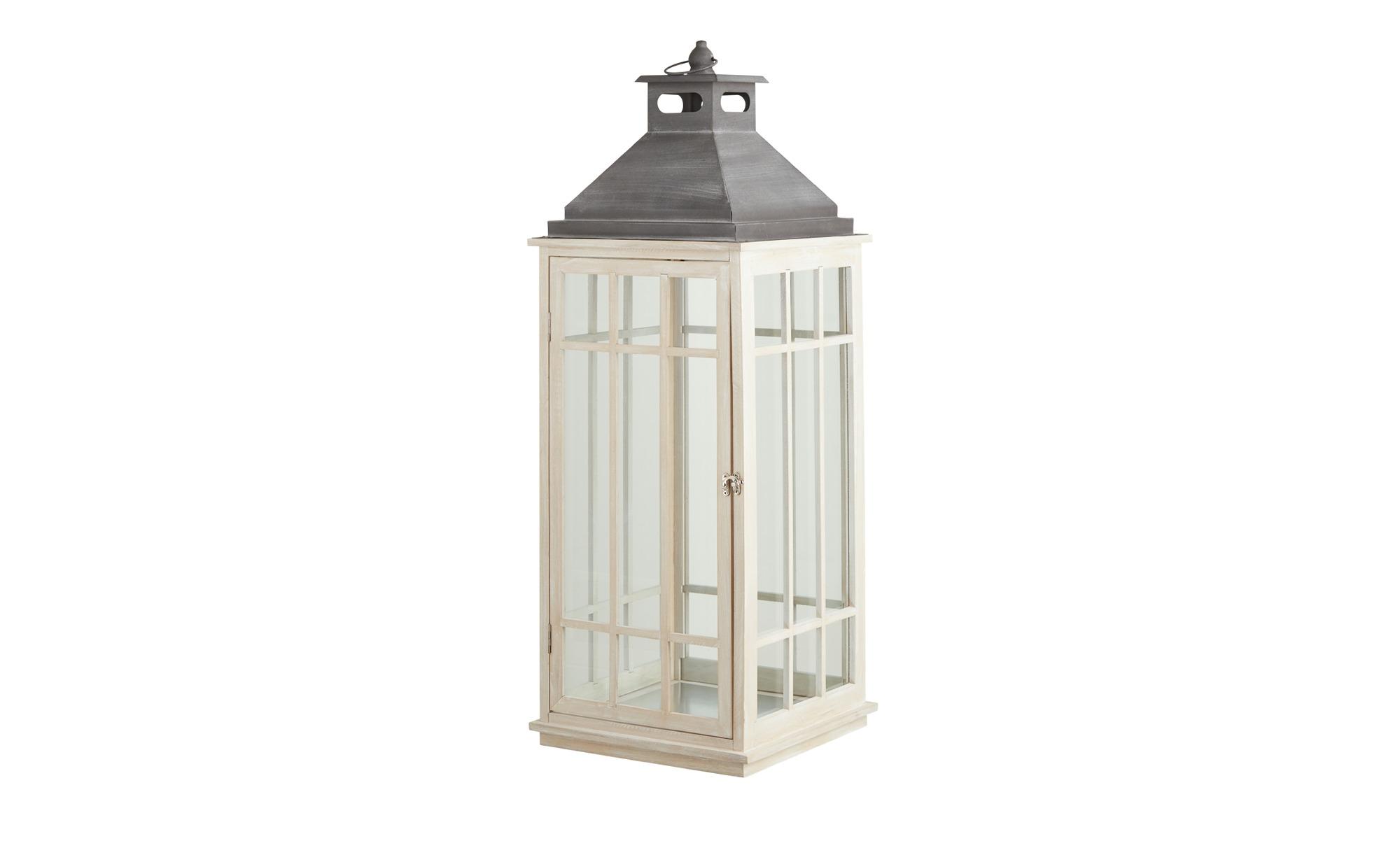 Laterne weiß Holz, Metall, Glas 31,5 cm 90,5 cm 31,5 cm Dekoration > Laternen & Windlichter Möbel Kraft