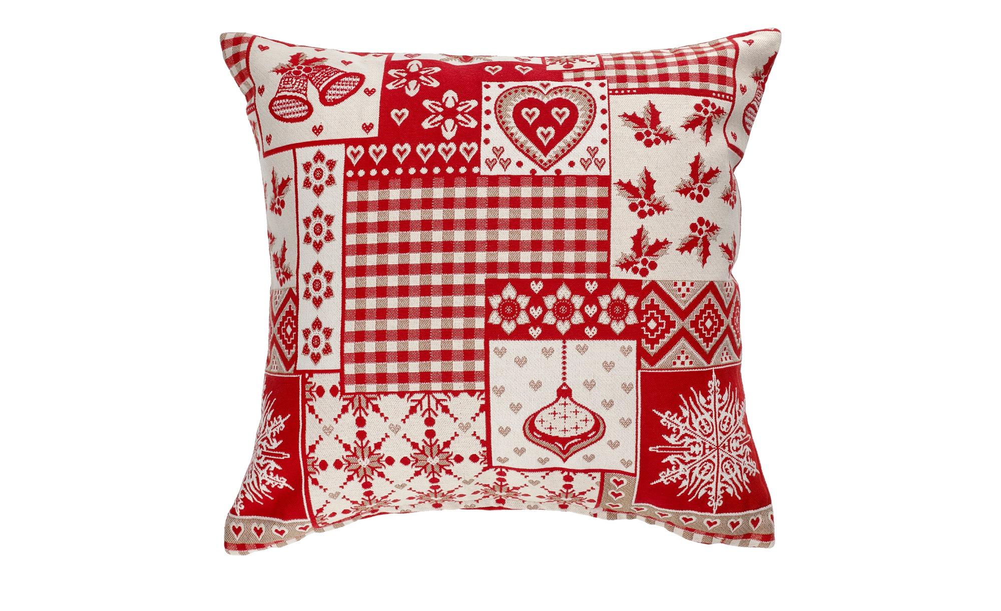 LAVIDA Kissen  Weihnachtspatch ¦ rot ¦ 100% Polyesterfüllung  ¦ Maße (cm): B: 40 Heimtextilien > Kissen > Dekokissen - Höffner
