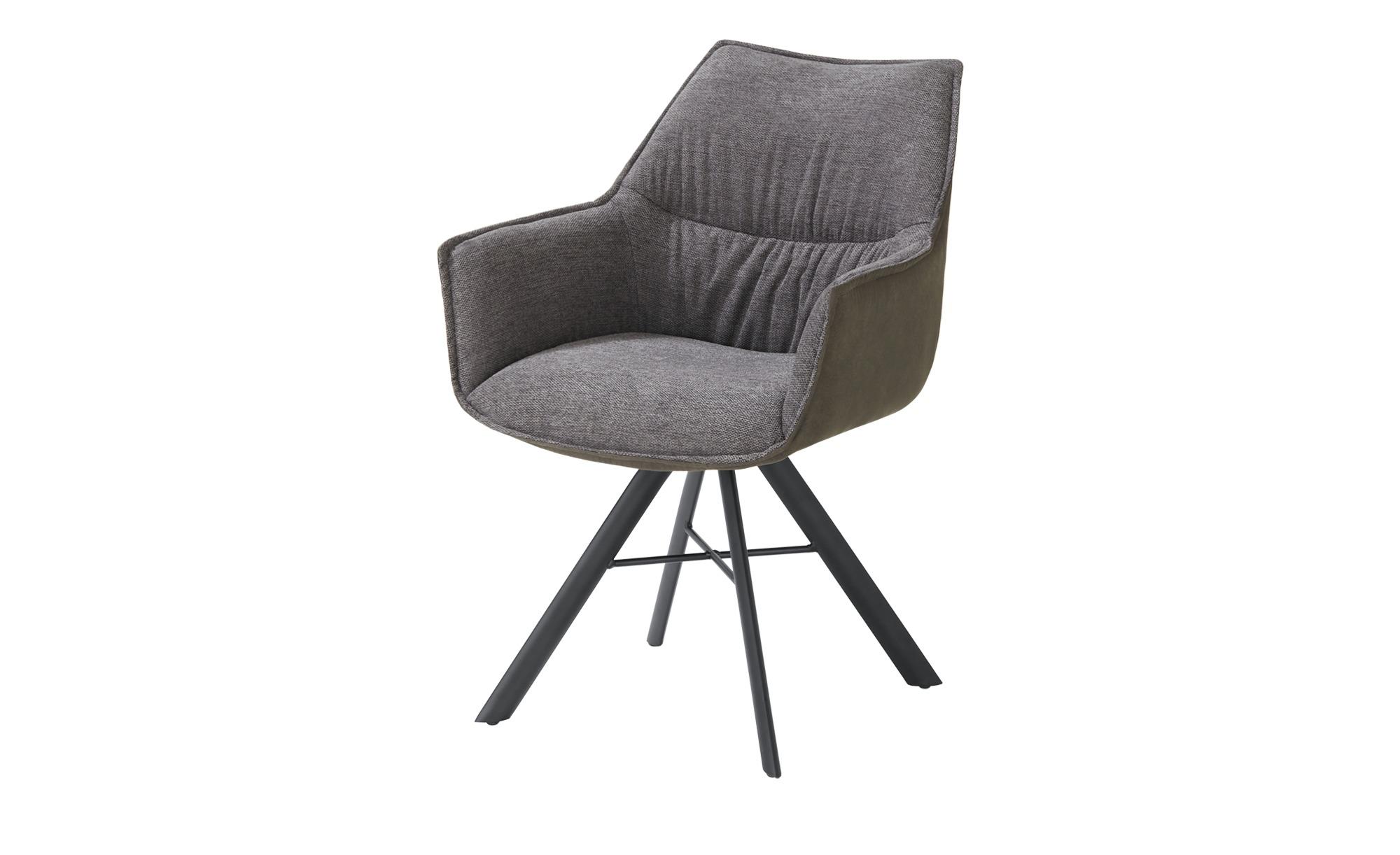 uno Armlehn-Polsterstuhl drehbar  Jonny ¦ grau Stühle > Esszimmerstühle > Esszimmerstühle mit Armlehnen - Höffner