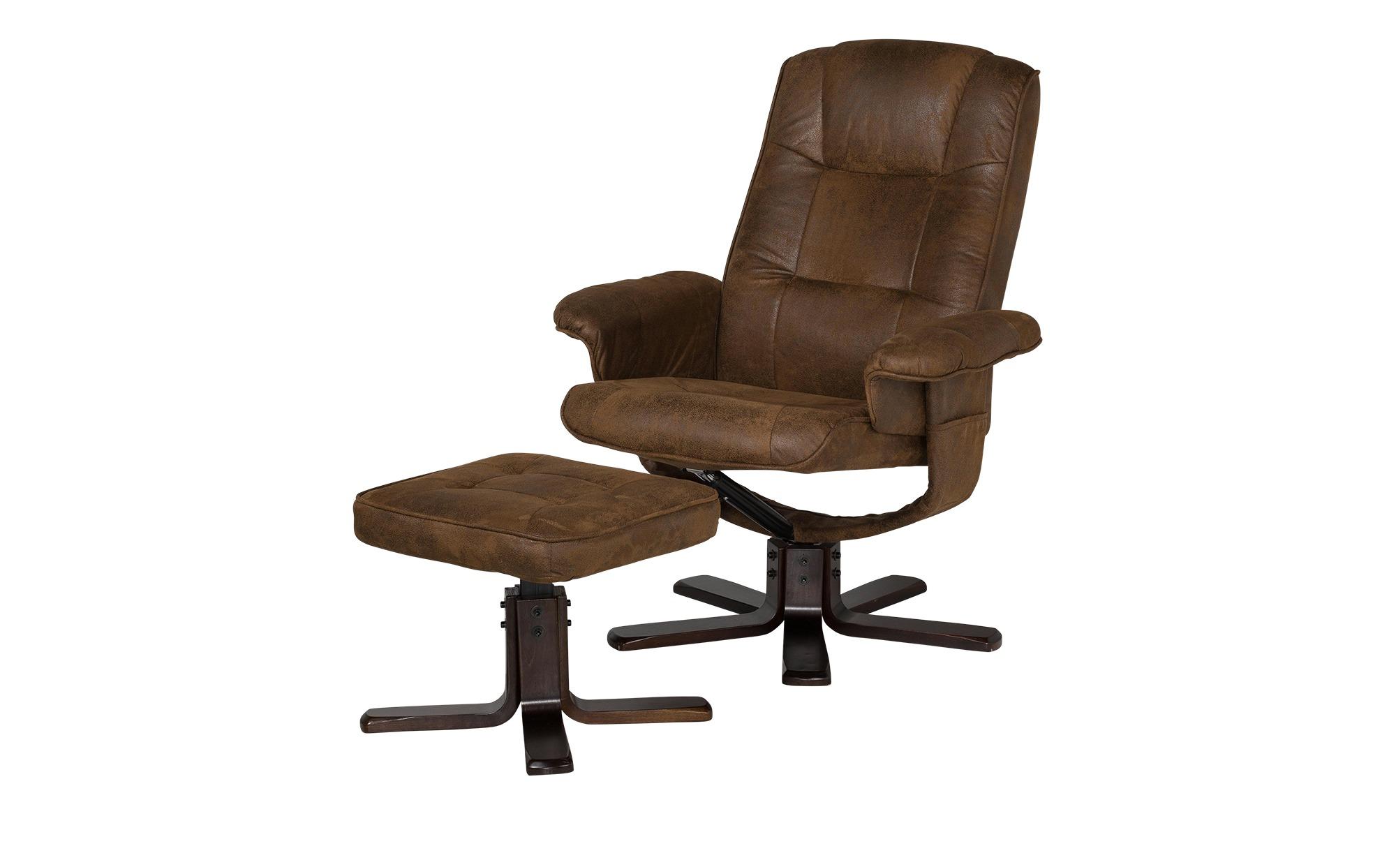 uno Sessel mit Hocker braun - Stoff Alyssa ¦ braun Polstermöbel > Sessel > Polstersessel - Höffner