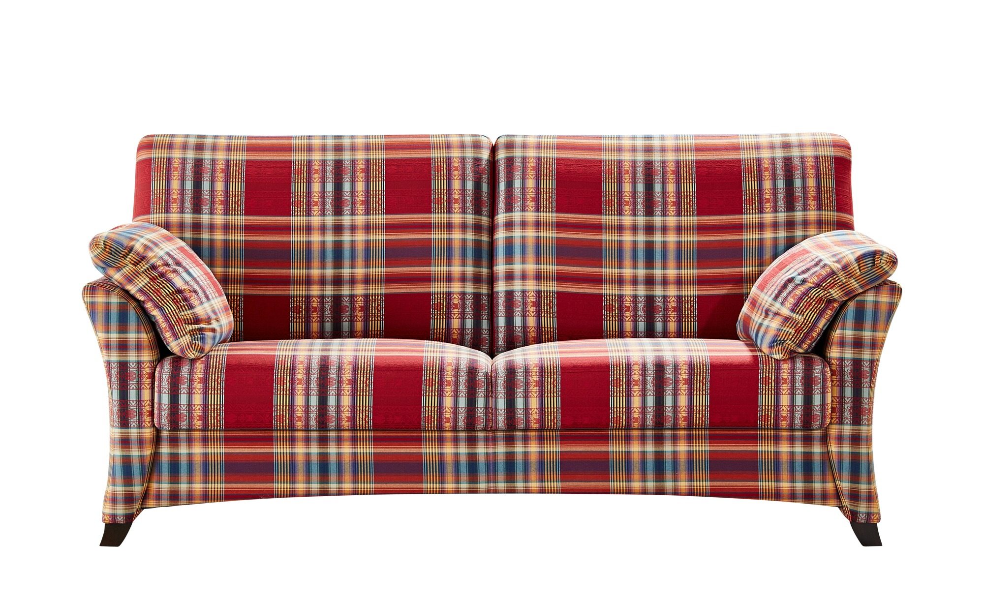 Sofa 3-sitzig rot/kariert - Webstoff Mikado ¦ mehrfarbig ¦ Maße (cm): B: 196 H: 93 T: 91 Polstermöbel > Sofas > 3-Sitzer - Höffner