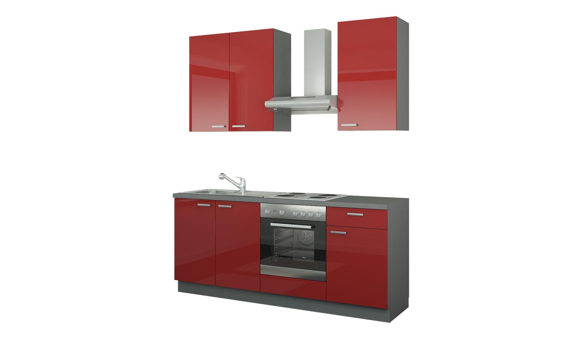 Küchenzeile mit Elektrogeräten  Bochum ¦ rot ¦ Maße (cm): B: 200 Küchen > Küchenblöcke - Höffner | Küche und Esszimmer > Küchen > Küchenzeilen | Möbel Höffner DE