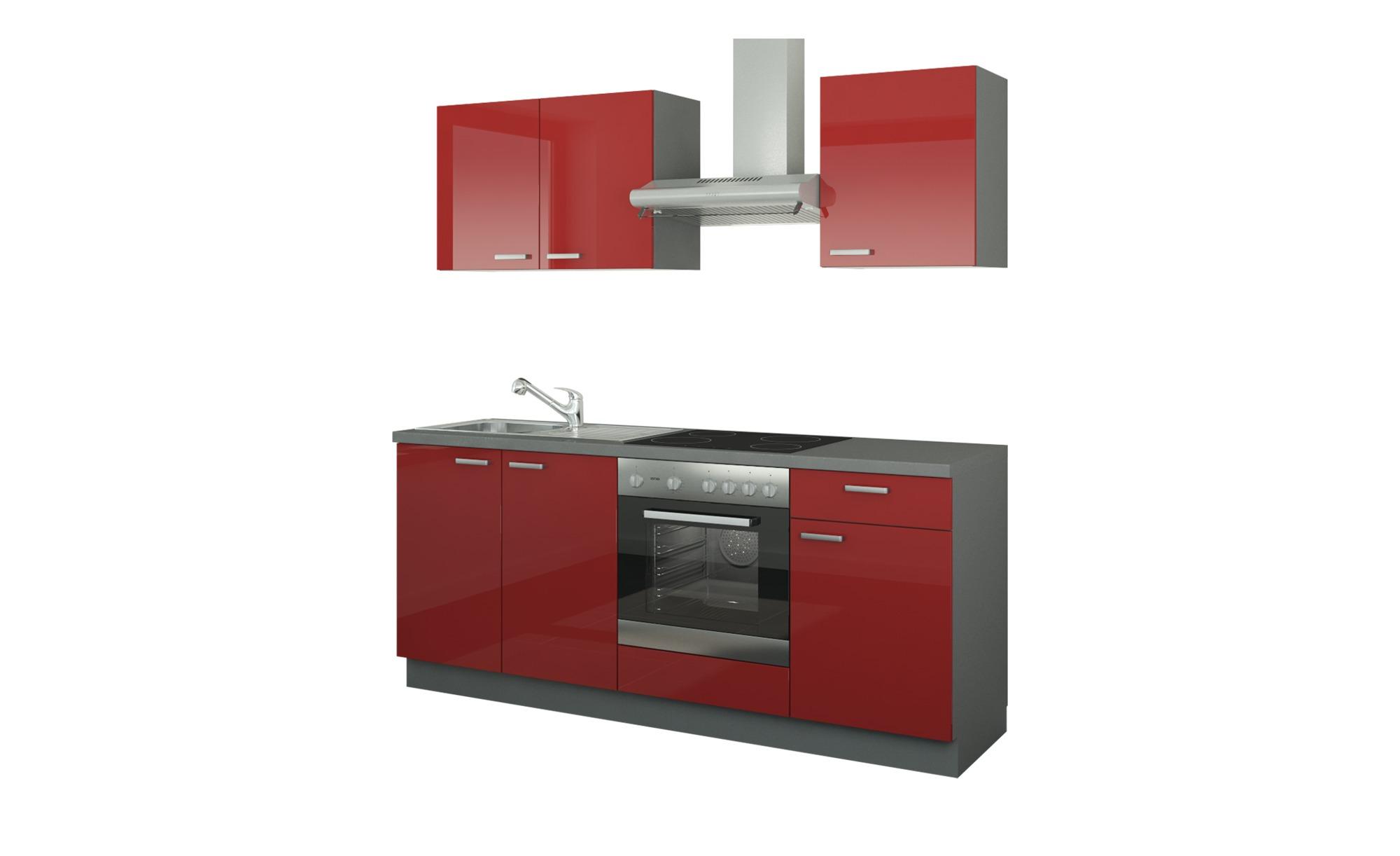 Küchenzeile mit Elektrogeräten  Binz ¦ rot ¦ Maße (cm): B: 200 Küchen > Küchenblöcke - Höffner | Küche und Esszimmer > Küchen | Möbel Höffner DE