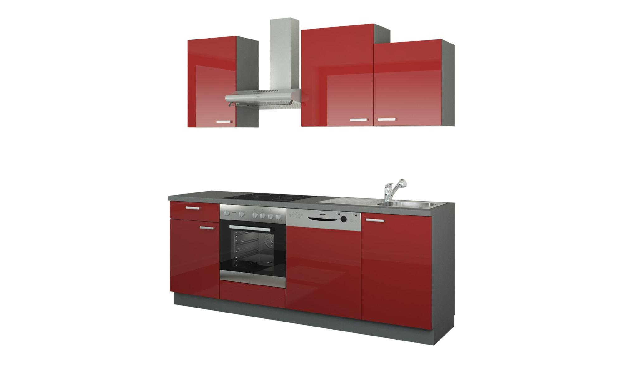 Küchenzeile mit Elektrogeräten  Erfurt ¦ rot ¦ Maße (cm): B: 220 Küchen > Küchenblöcke - Höffner   Küche und Esszimmer > Küchen   Rot   Holzwerkstoff   Möbel Höffner DE