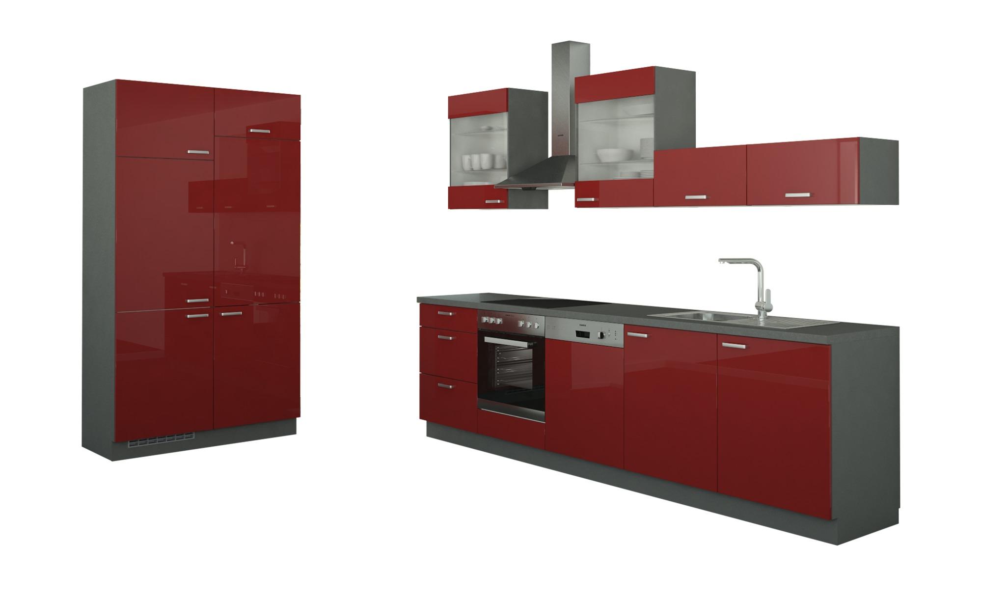 Küchenzeile ohne Elektrogeräte  Potsdam ¦ rot Küchen > Küchenblöcke - Höffner | Küche und Esszimmer > Küchen | Rot | Holzwerkstoff - Glas | Möbel Höffner DE