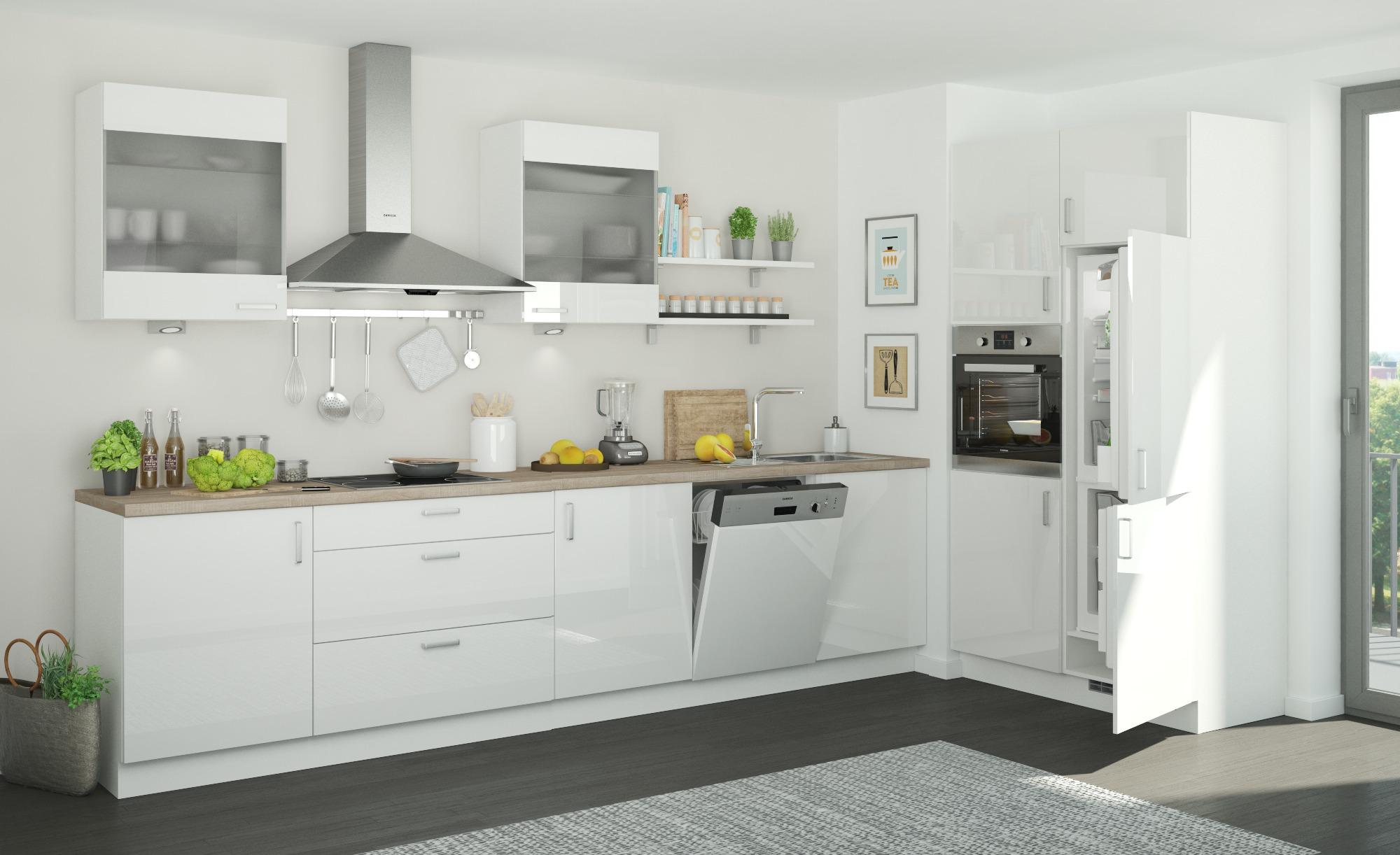 Küchenzeile ohne Elektrogeräte  Frankfurt ¦ weiß Küchen > Küchenblöcke ohne E-Geräte - Höffner | Küche und Esszimmer > Küchen > Küchenzeilen | Möbel Höffner DE