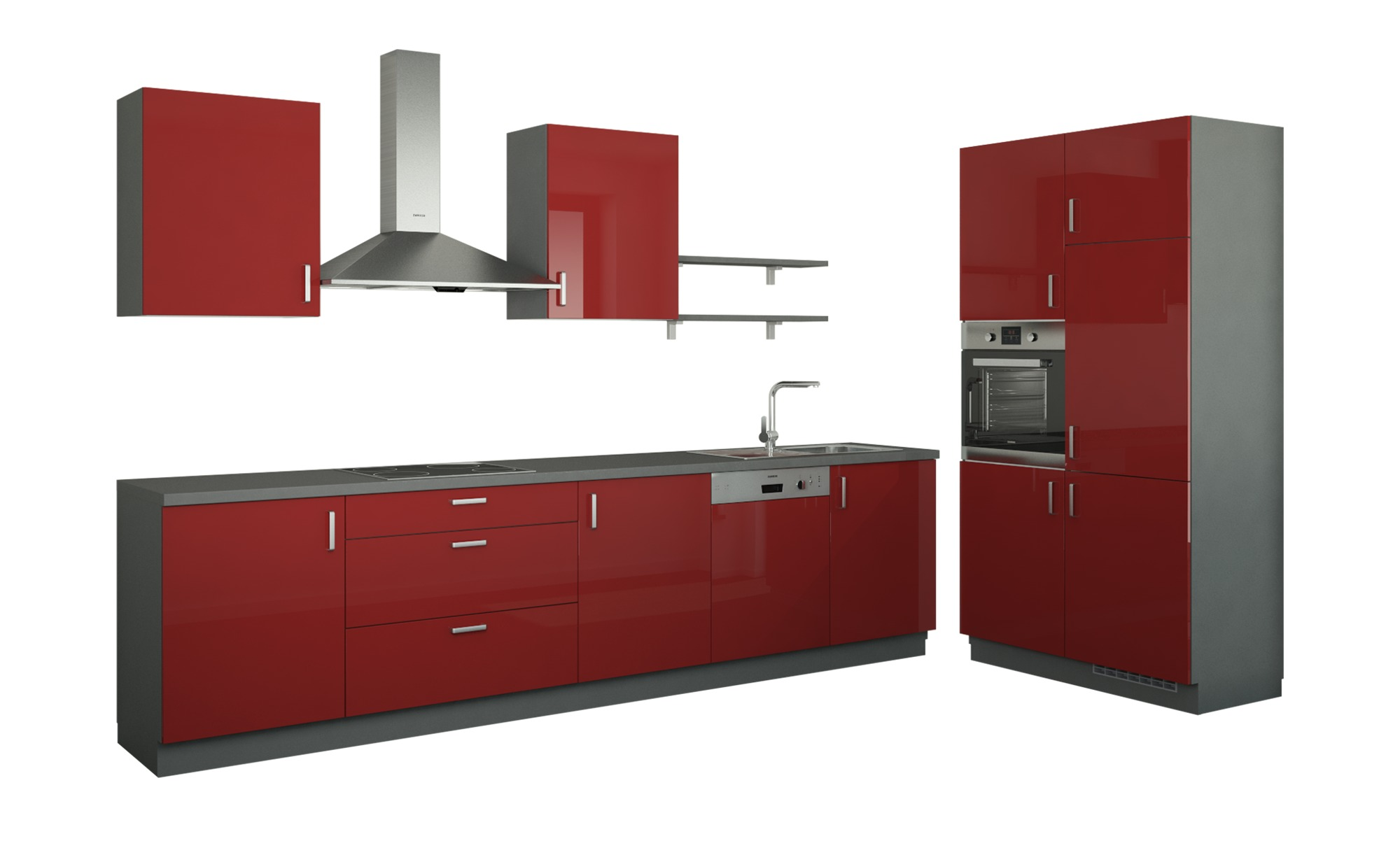 Küchenzeile ohne Elektrogeräte  Usedom ¦ rot Küchen > Küchenblöcke - Höffner | Küche und Esszimmer > Küchen | Rot | Holzwerkstoff - Metall - Edelstahl | Möbel Höffner DE