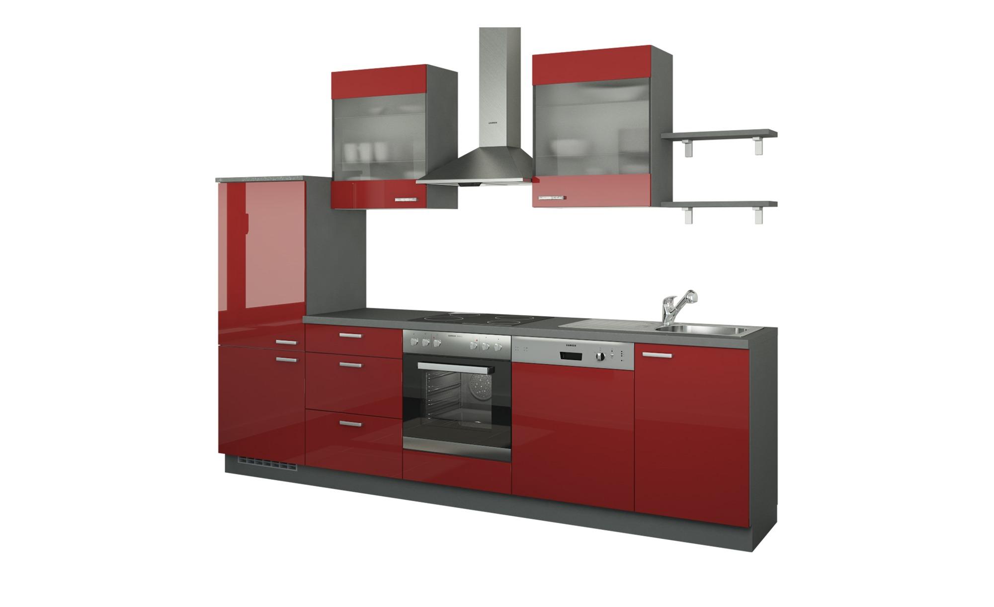 Küchenzeile ohne Elektrogeräte  Hamburg ¦ rot ¦ Maße (cm): B: 290 Küchen > Küchenblöcke ohne E-Geräte - Höffner