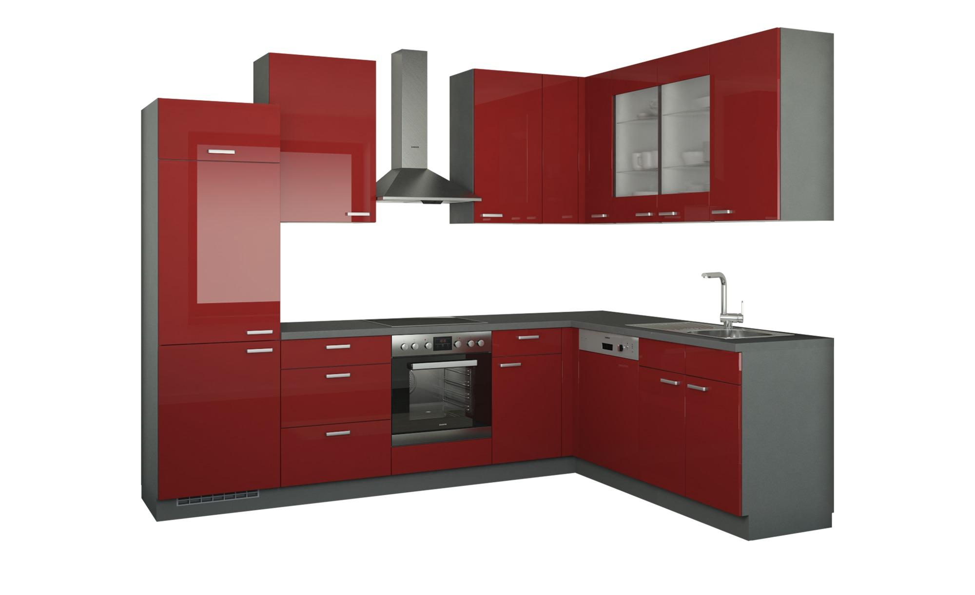 Winkelküche ohne Elektrogeräte  München ¦ rot Küchen > Küchenblöcke - Höffner | Küche und Esszimmer > Küchen > Winkelküchen | Rot | Holzwerkstoff - Glas | Möbel Höffner DE