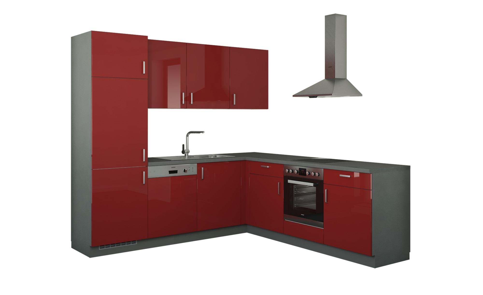 Winkelküche ohne Elektrogeräte  Stuttgart ¦ rot Küchen > Küchenblöcke - Höffner | Küche und Esszimmer > Küchen > Winkelküchen | Rot | Holzwerkstoff | Möbel Höffner DE