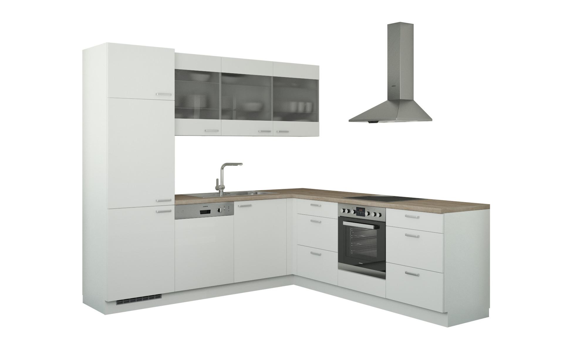 Winkelküche ohne Elektrogeräte  Sylt ¦ weiß Küchen > Küchenblöcke - Höffner | Küche und Esszimmer > Küchen > Winkelküchen | Weiß | Holzwerkstoff - Glas | Möbel Höffner DE