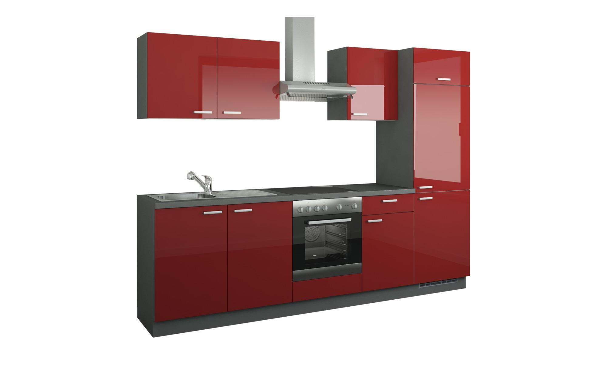 Küchenzeile mit Elektrogeräten  Aachen ¦ rot ¦ Maße (cm): B: 270 Küchen > Küchenblöcke mit E-Geräten - Höffner | Küche und Esszimmer > Küchen > Küchenzeilen | Möbel Höffner DE