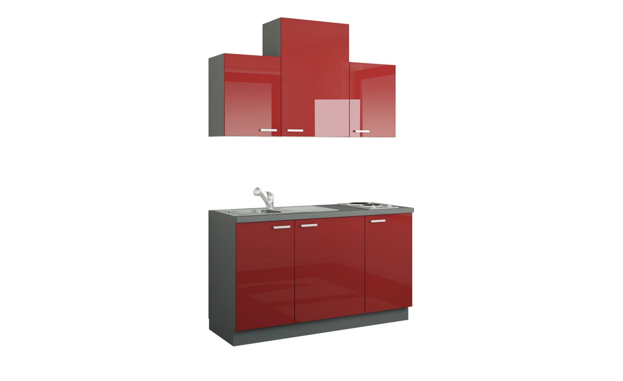 Küchenzeile mit Elektrogeräten  Aue ¦ rot ¦ Maße (cm): B: 150 Küchen > Küchenblöcke mit E-Geräten - Höffner