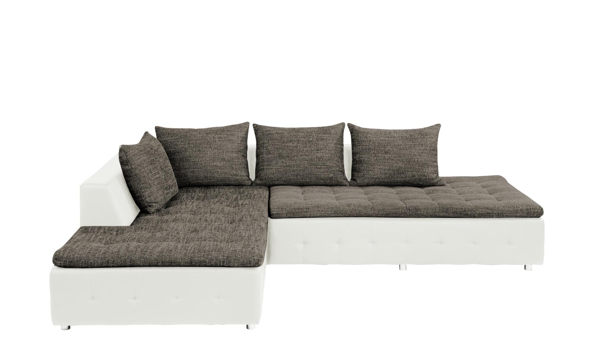 smart Ecksofa weiß/grau - Kunstleder/Webstoff Salvia ¦ weiß Polstermöbel > Sofas > Ecksofas - Höffner