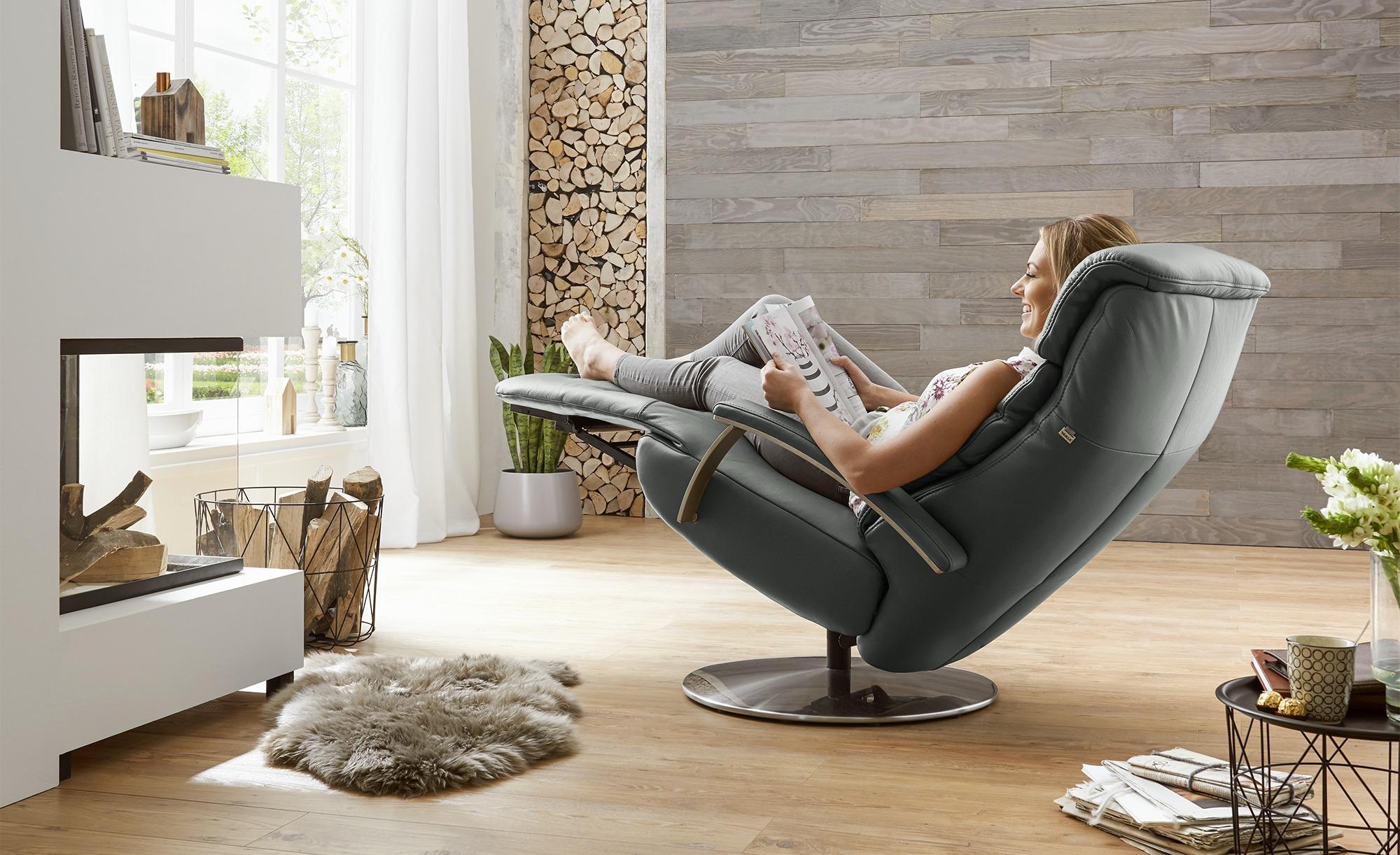 Hukla Leder-Relaxsessel grau - Leder Florian ¦ grau ¦ Maße (cm): B: 73 T: 91 Polstermöbel > Sessel > Fernsehsessel - Höffner