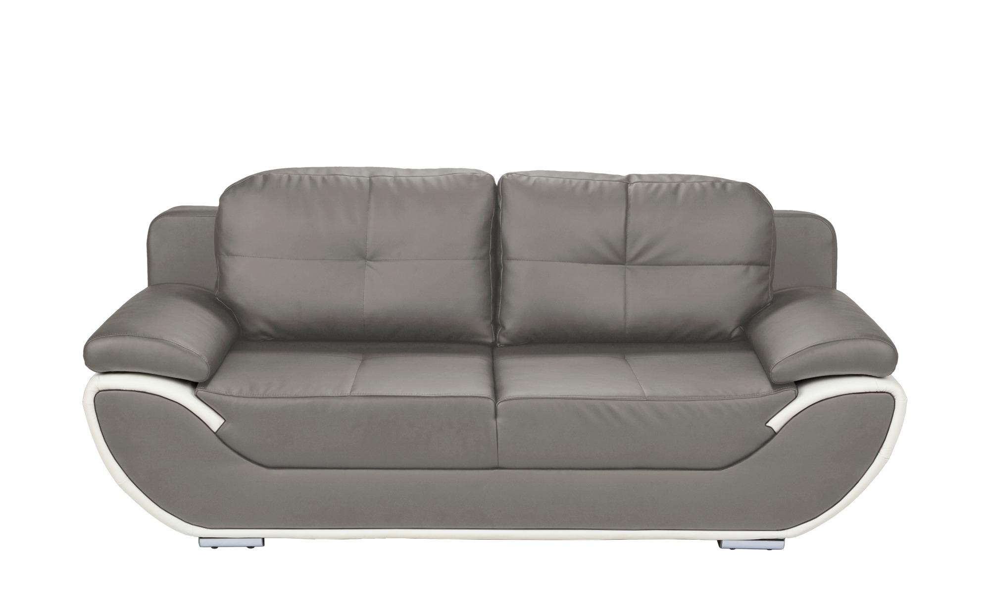 smart Design-Schlafsofa grau/weiß - Kunstleder Adina ¦ grau ¦ Maße (cm): B: 204 H: 90 T: 92 Polstermöbel > Sofas > 2-Sitzer - Höffner