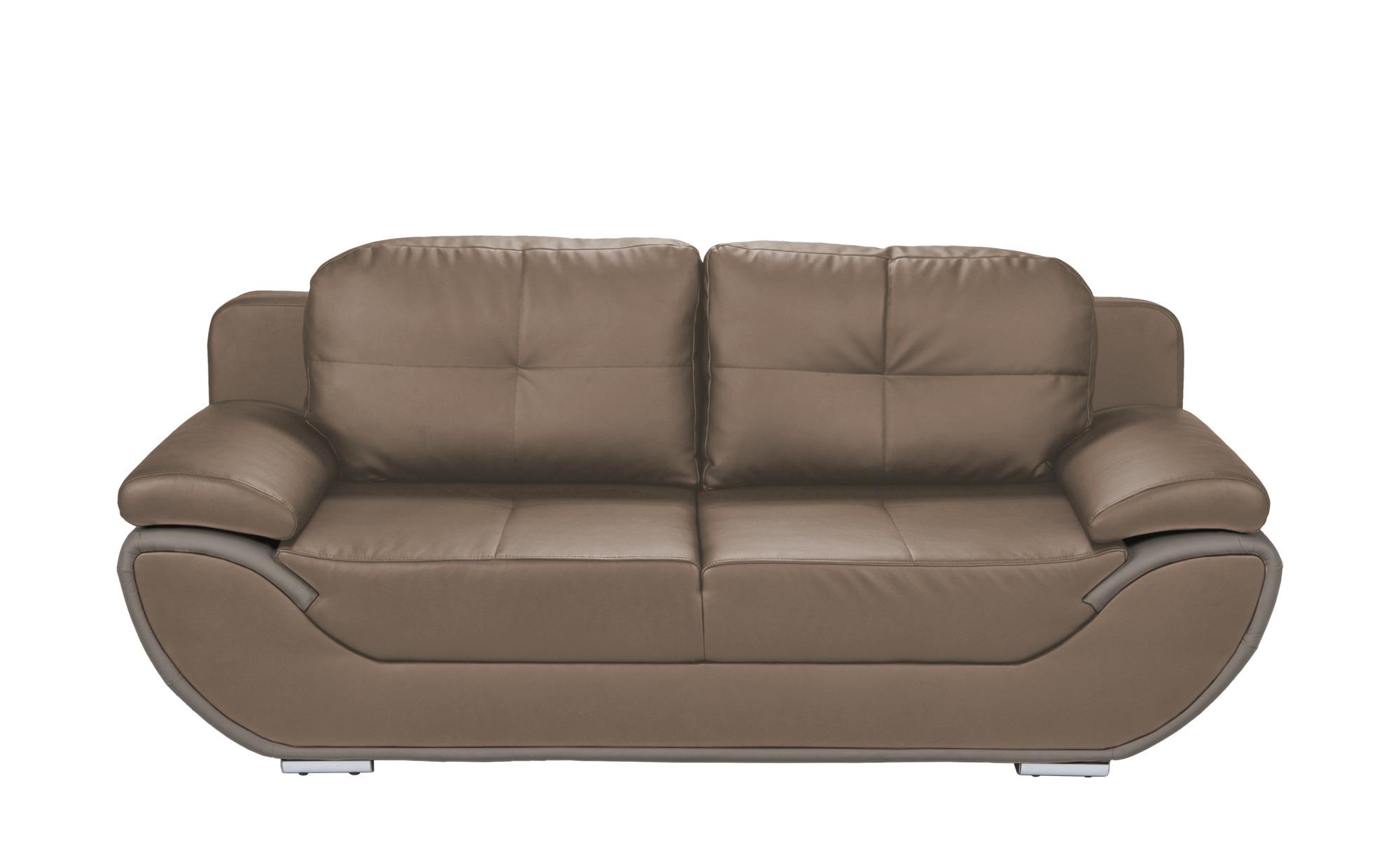 smart Design-Schlafsofa grau-braun/grau - Kunstleder Adina ¦ braun ¦ Maße (cm): B: 204 H: 90 T: 92 Polstermöbel > Sofas > 2-Sitzer - Höffner