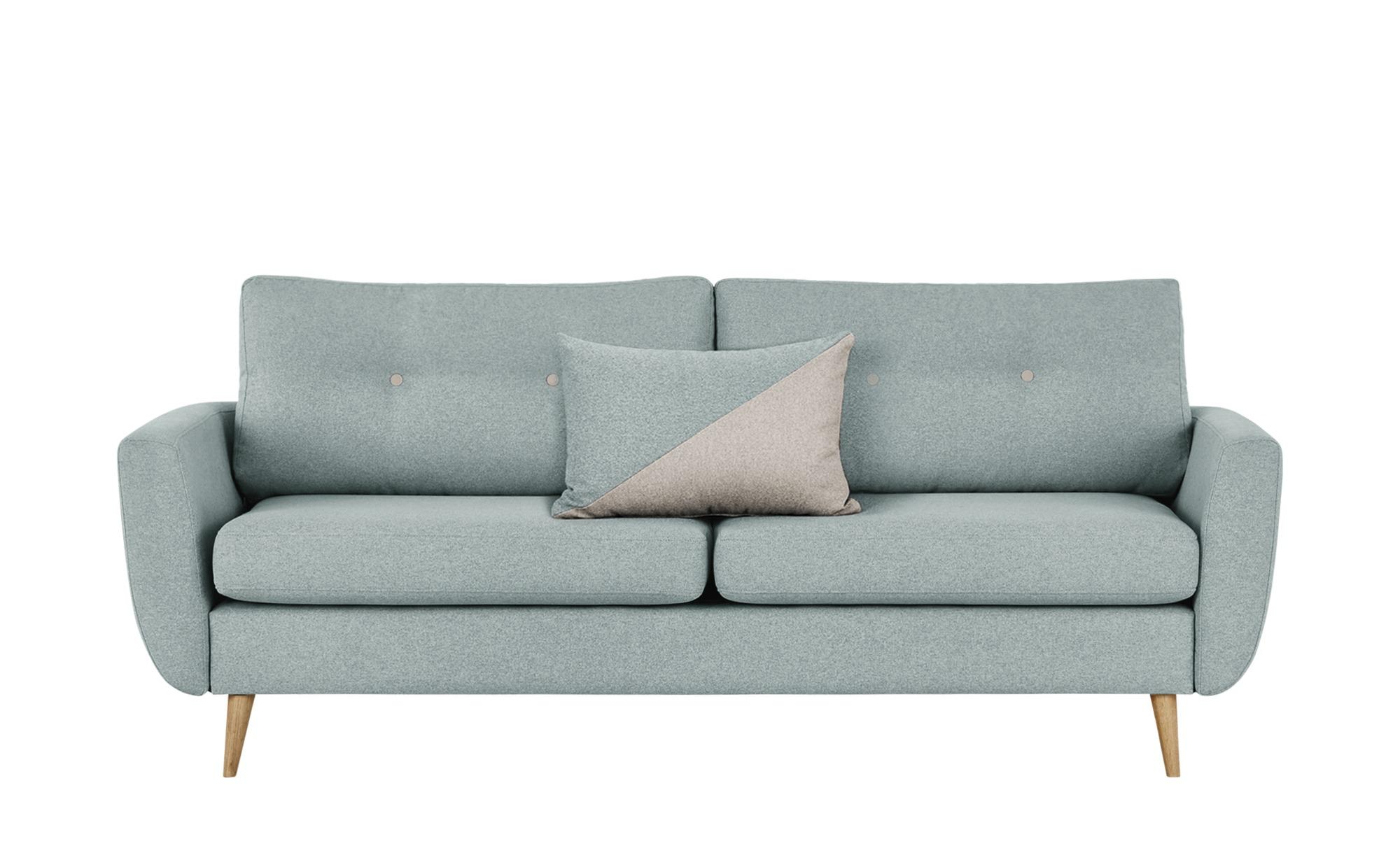 finya Retro-Sofa 3-sitzig mintgrün - Webstoff Harris ¦ blau ¦ Maße (cm): B: 207 H: 85 T: 92 Polstermöbel > Sofas > 3-Sitzer - Höffner