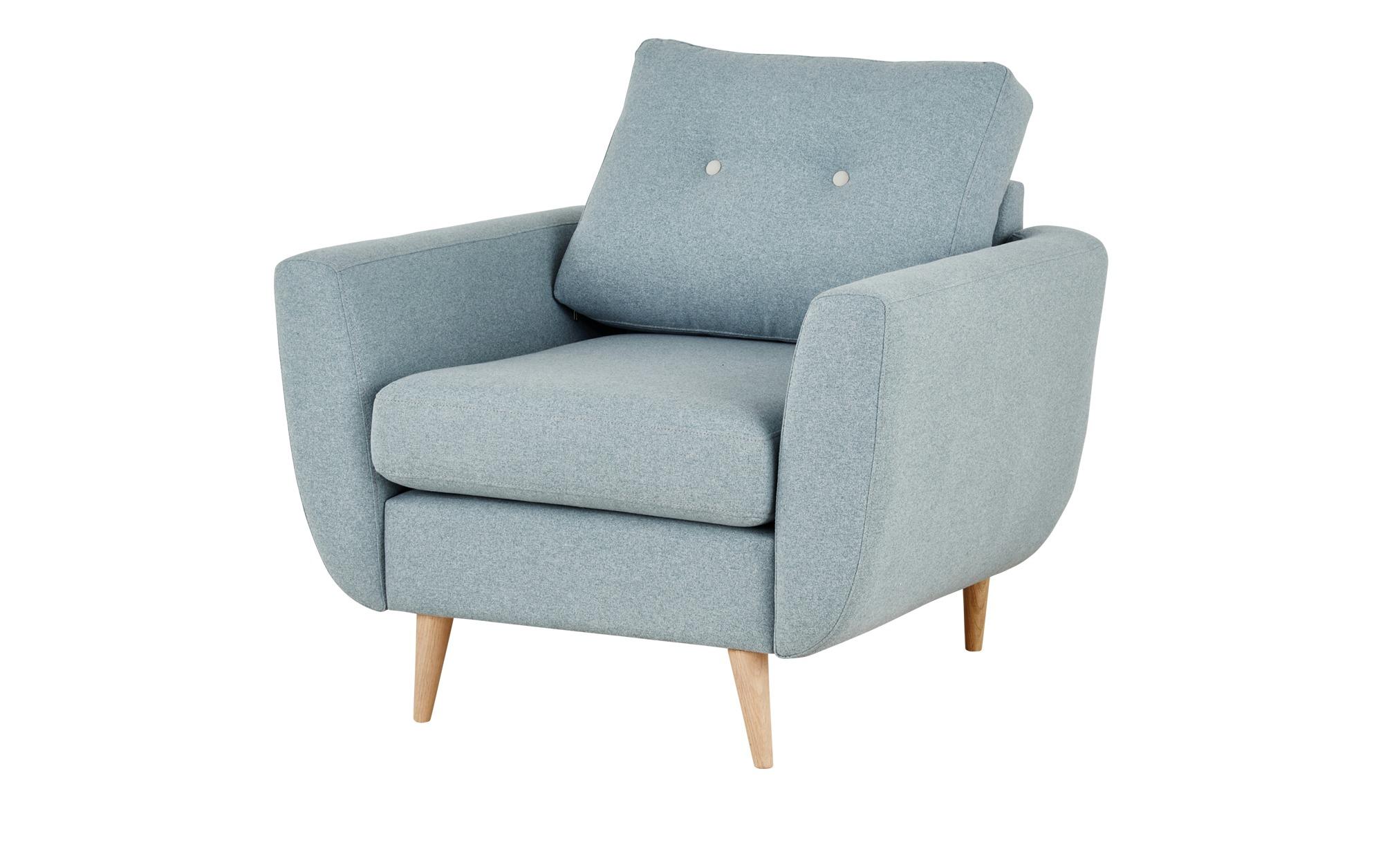 finya Retro-Sessel blau - Stoff Harris ¦ blau ¦ Maße (cm): B: 88 H: 85 T: 85 Polstermöbel > Sessel > Polstersessel - Höffner