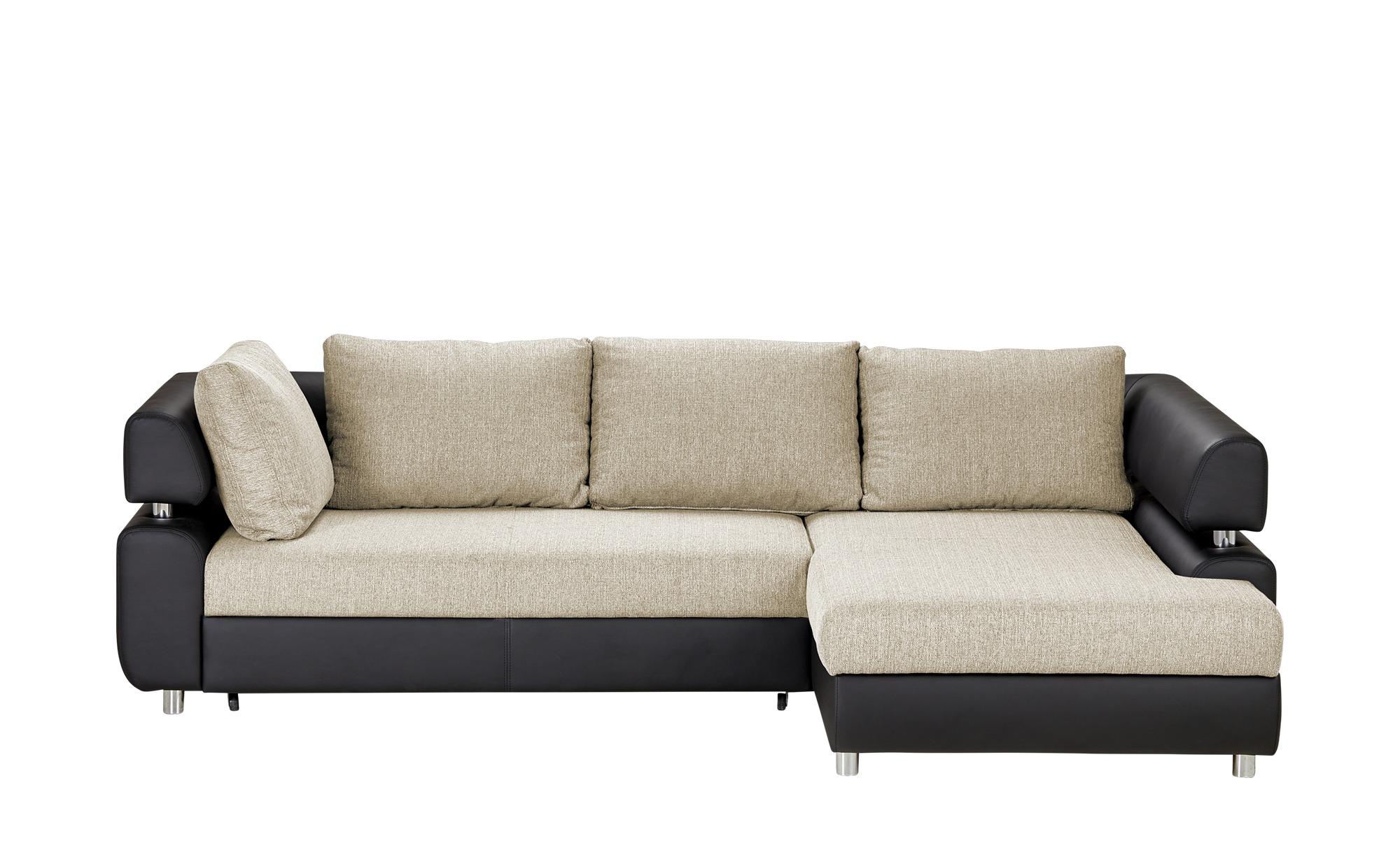 switch Zweifarbiges Ecksofa mit Schlaffunktion schwarz/beige - Kunstleder/Webstoff Panama ¦ Maße (cm): H: 84 Polstermöbel > Sofas > Ecksofas - Höffner