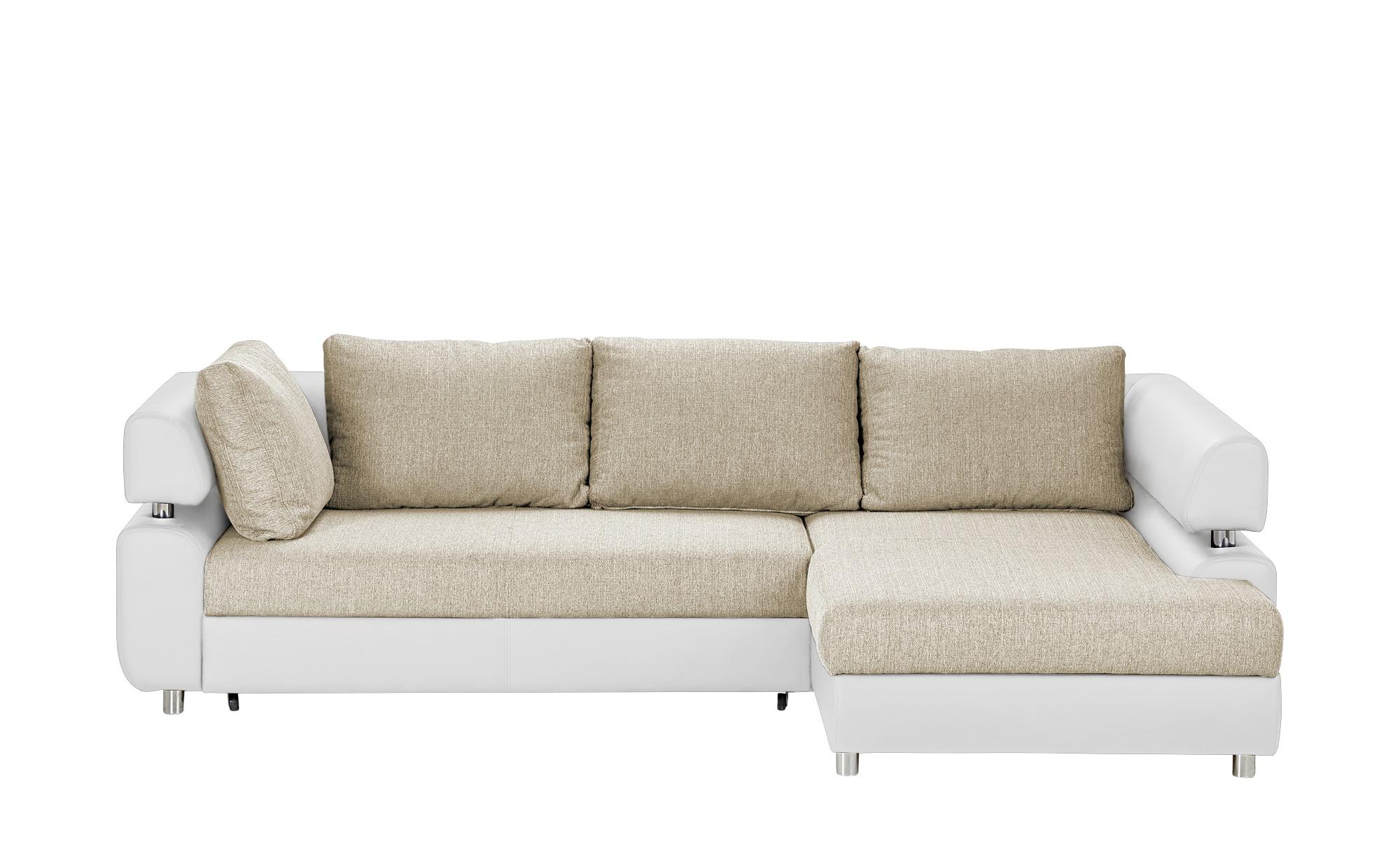 switch Ecksofa mit Schlaffunktion weiß/beige - Kunstleder/Webstoff Panama ¦ beige ¦ Maße (cm): H: 72 Polstermöbel > Sofas > Ecksofas - Höffner