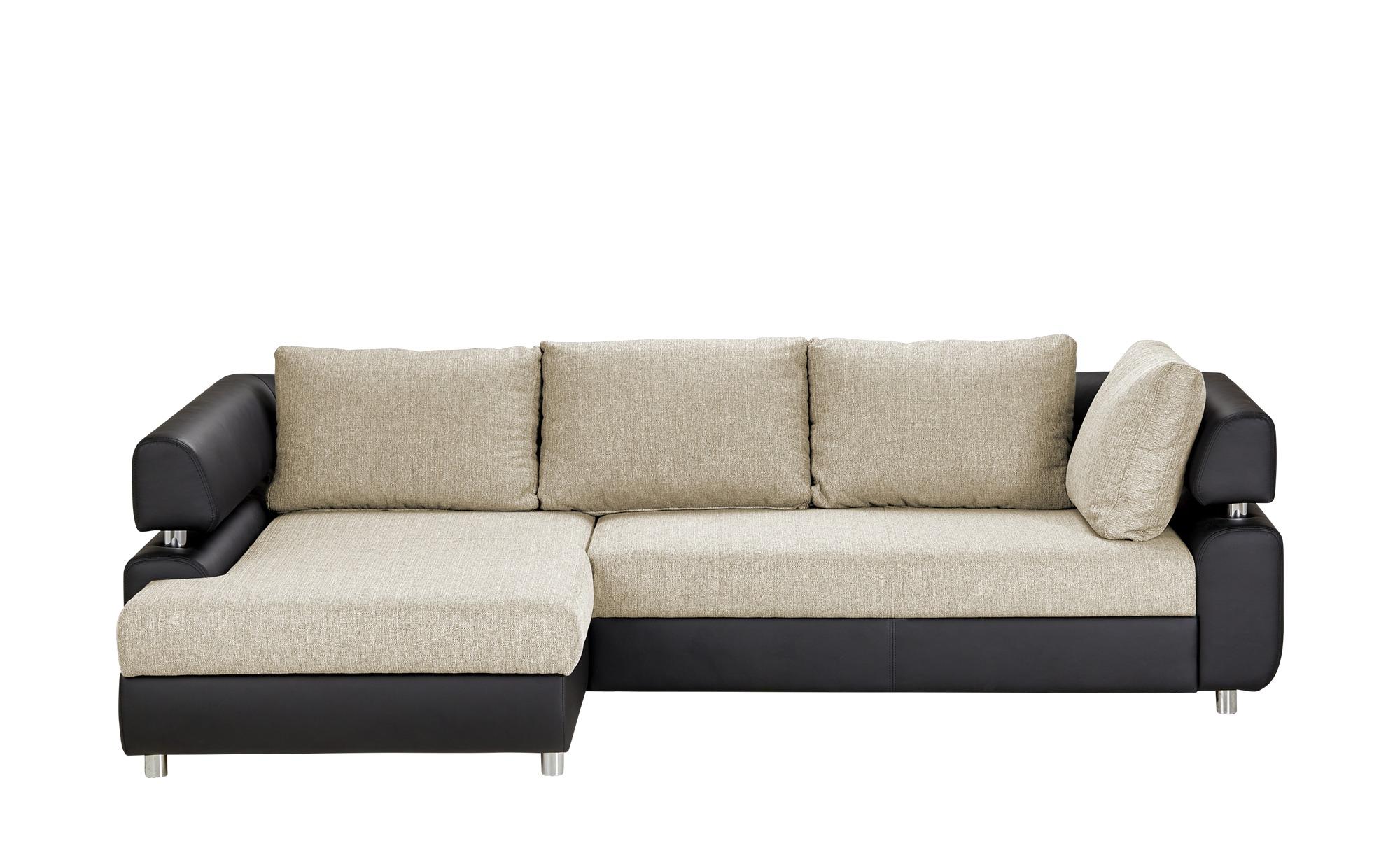 switch Ecksofa schwarz/beige - Kunstleder/Webstoff Panama ¦ beige ¦ Maße (cm): H: 72 Polstermöbel > Sofas > Ecksofas - Höffner