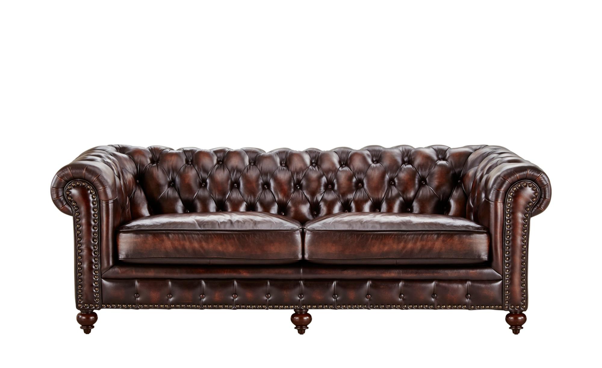 uno Sofa 3-sitzig Leder braun - Leder Chesterfield ¦ braun ¦ Maße (cm): B: 230 H: 80 T: 100 Polstermöbel > Sofas > 3-Sitzer - Höffner