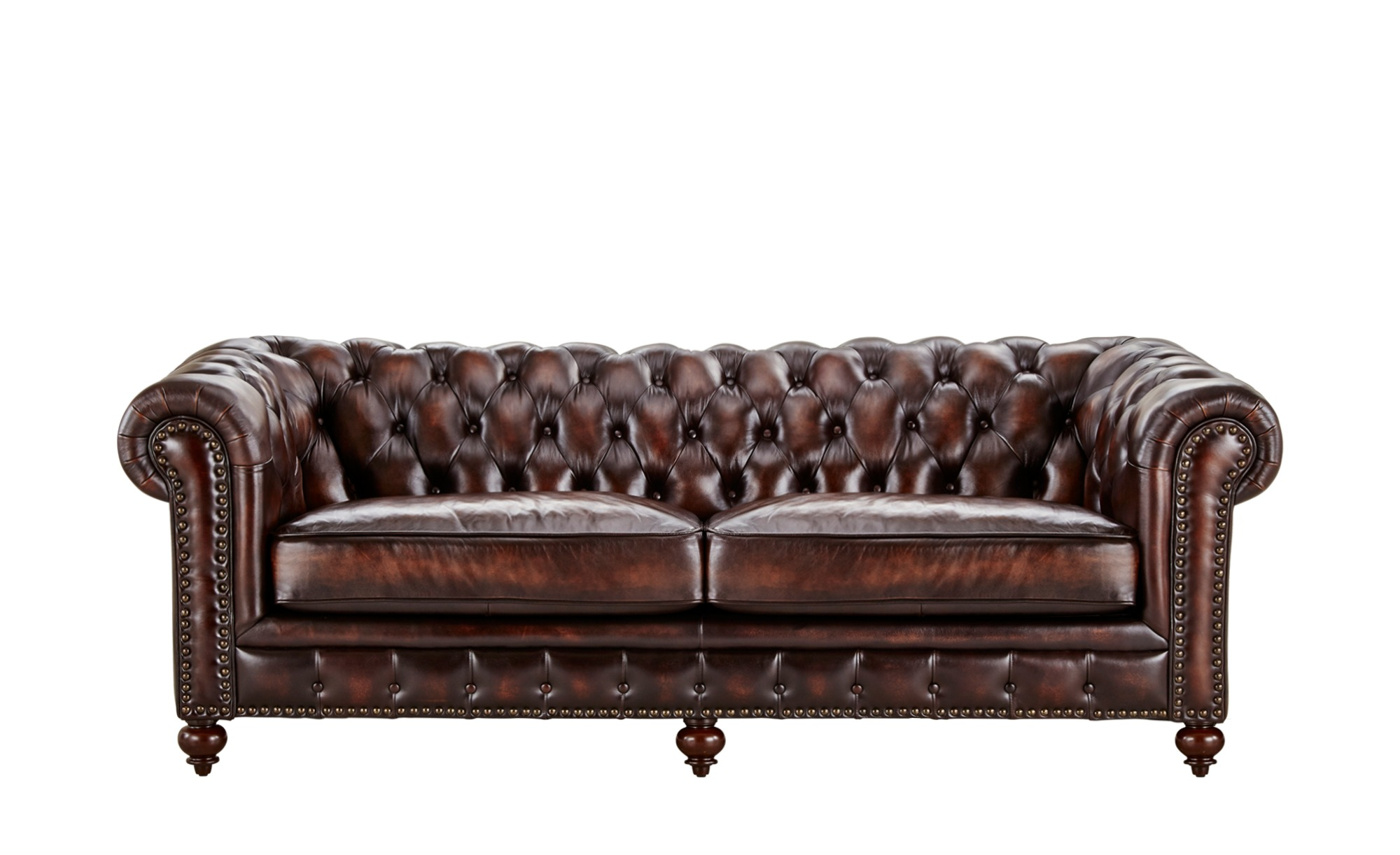 uno sofa 3 sitzig leder braun leder chesterfield. Black Bedroom Furniture Sets. Home Design Ideas