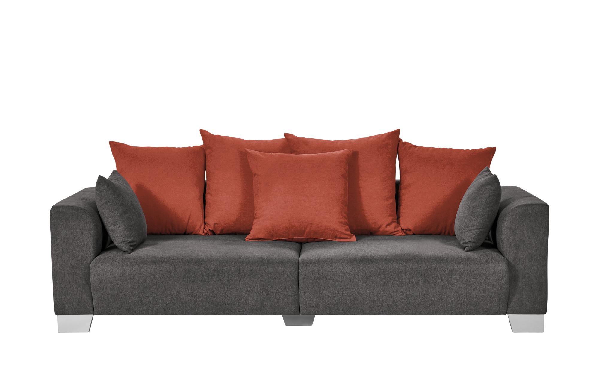 Smart Big Sofa Grau Braun Flachgewebe Tonja Schlamm Orange Flachgewebe